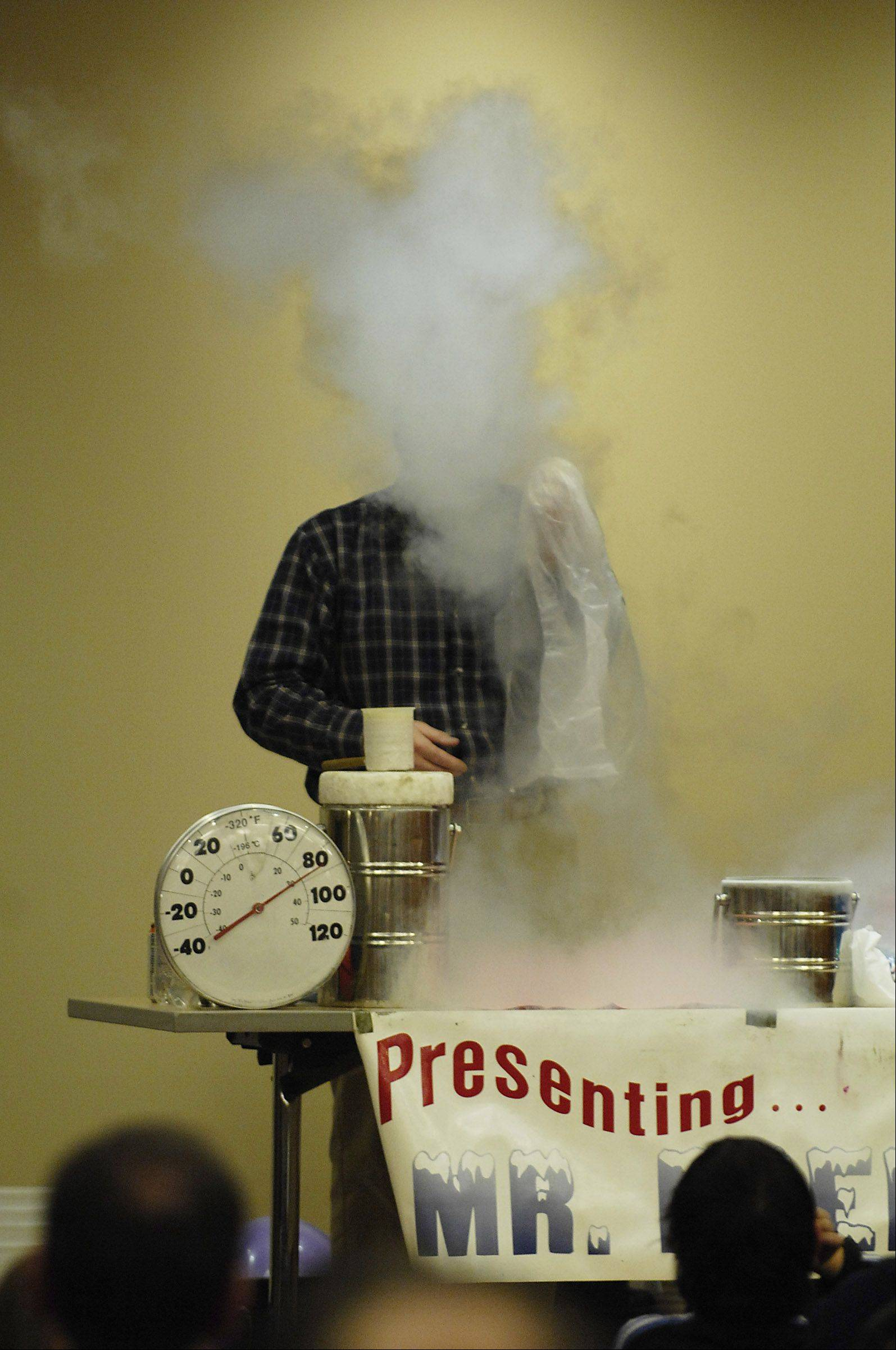 Fermilab's Mr. Freeze will demonstrate cryogenics as a warm-up to the fourth annual Discovery Science Expo, which will be held April 20.