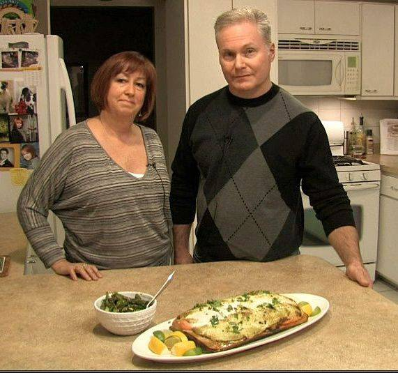 Gina and Bill Kelly of Sleepy Hollow with their wasabi-glazed salmon, cooked on the grill, with sesame asparagus.