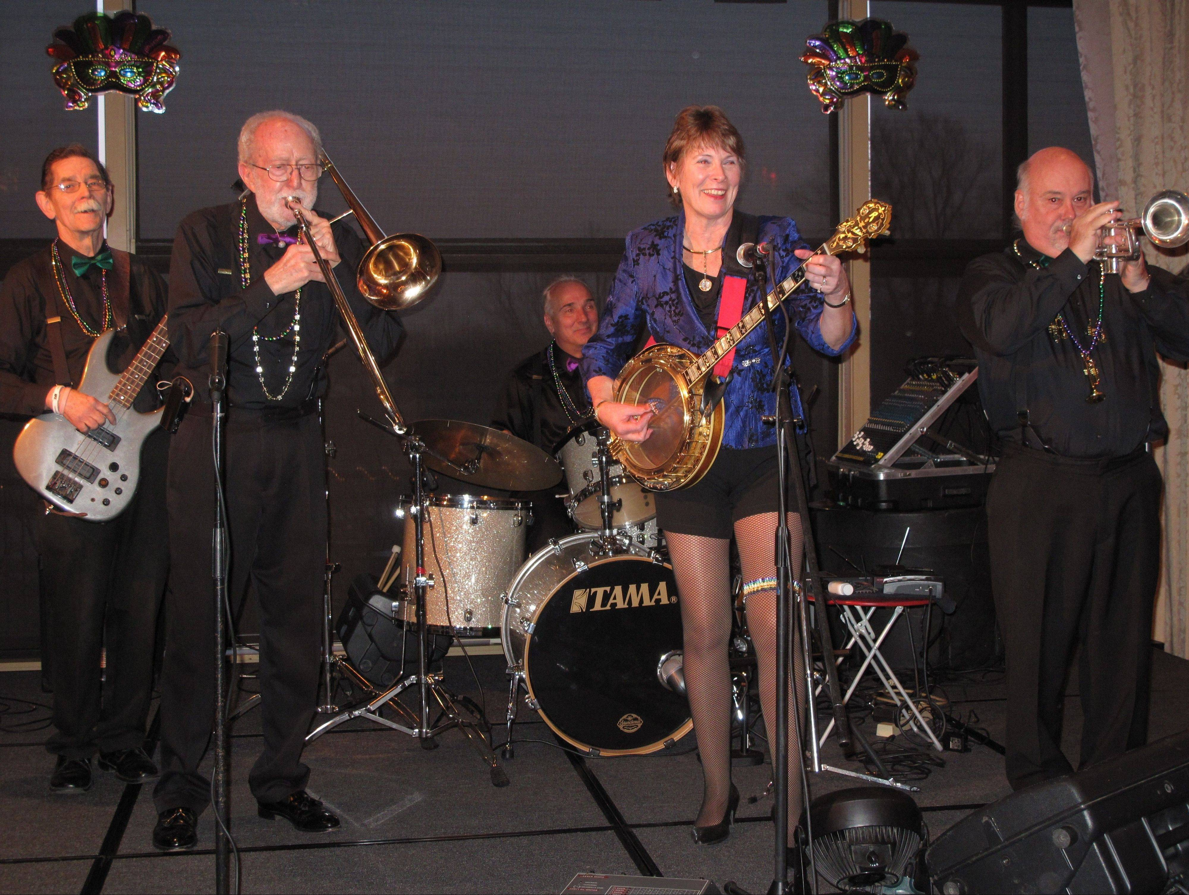 The Banjo Buddies Dixieland Jazz Band performs at a private event in Bloomingdale.