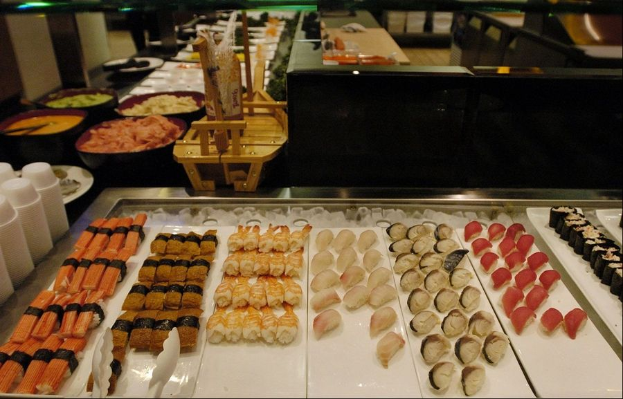 A wide variety of fresh sushi is available at Royal Japanese Seafood Buffet in Hoffman Estates.