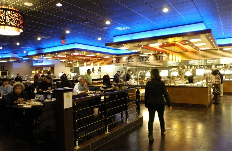 Royal Japanese Seafood Buffet offers spacious dining rooms and bountiful Japanese fare in a space that formerly housed a movie theater.