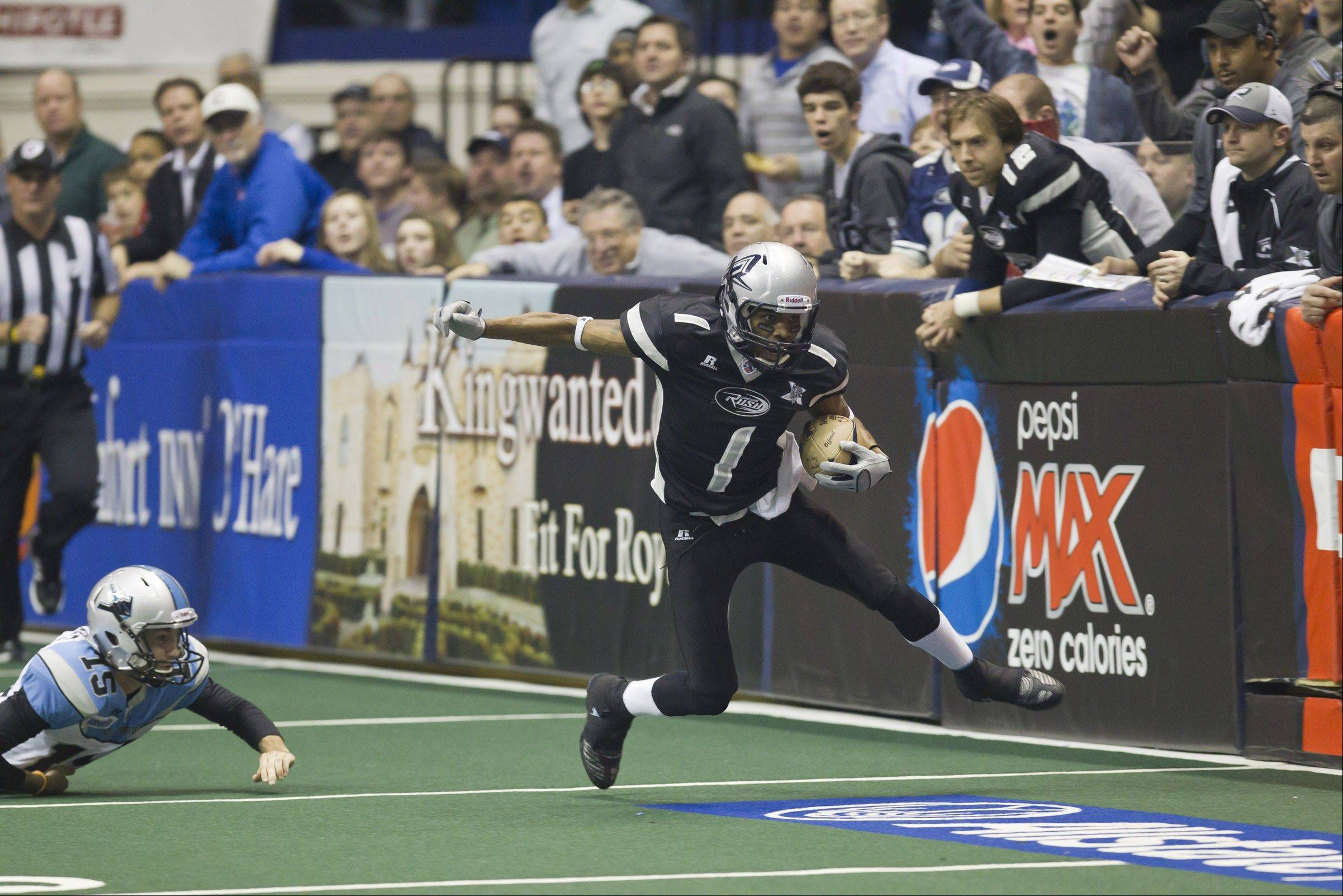 Chicago Rush wide receiver Reggie Gray returns for the team's 2012 Arena Football League season, which begins Saturday at Allstate Arena. Gray caught 49 TD passes last season, and scored 4 more touchdowns on kick returns.