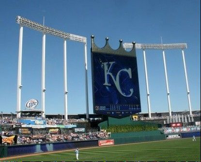"The iconic scoreboard at Kauffman Stadium in Kansas City, Mo. Royals fans sing Garth Brooks' ""Friends in Low Places"" in the middle of the sixth inning."