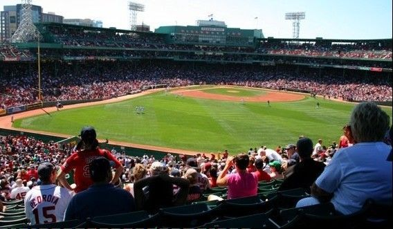 This is the view from the center-field bleachers at Fenway Park in Boston.