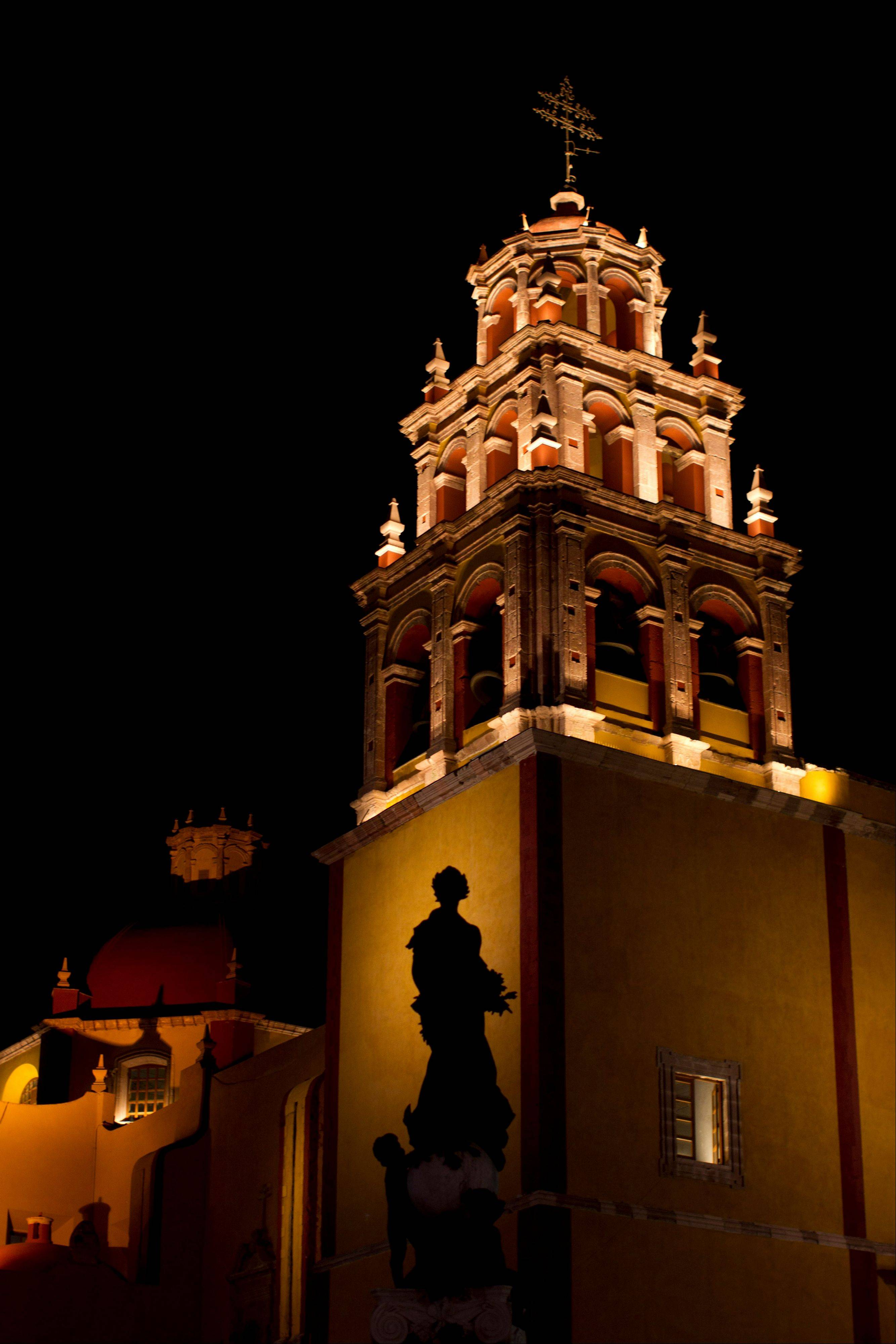 The Basilica Colegiata de Nuestra Se�ora de Guanajuato is lit at night in the colonial city of Guanajuato, Mexico. Guanajuato, where the pope will visit, is one of the most picturesque places in Mexico.