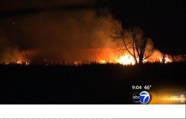 Dozens of firefighters from across the Northwest suburbs battled a huge brush fire Saturday night in Palatine's Deer Grove Forest Preserve. The blaze scorched about 10 acres of grass and marshland, authorities said.
