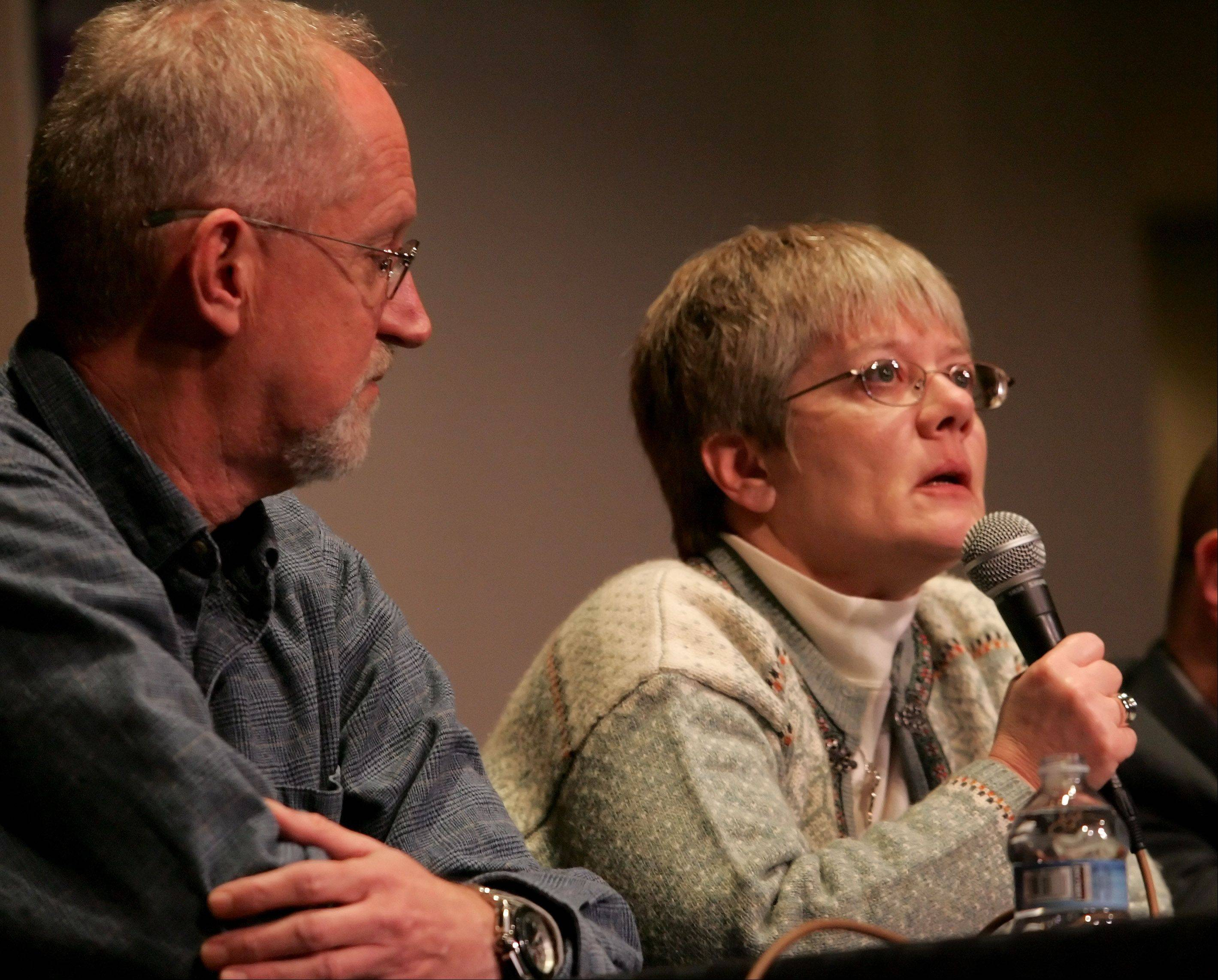"Paul and Amy Miller speak about their daughter Megan, who died of a heroin overdose Jan. 28. They were speaking on Monday at a program called ""Heroin: Stemming the Tide"" at Wheatland Salem Church in Naperville."