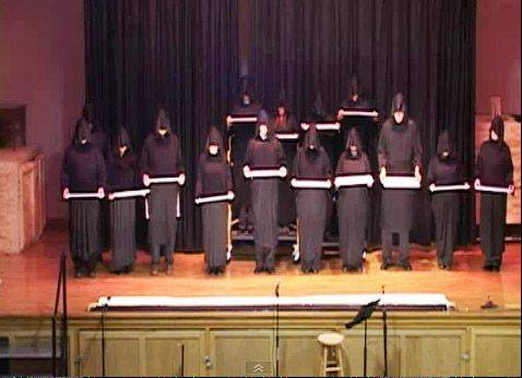 The Monks of Gary United Methodist Church in Wheaton prepare to present their version of Handel's Messiah at a recent talent show.