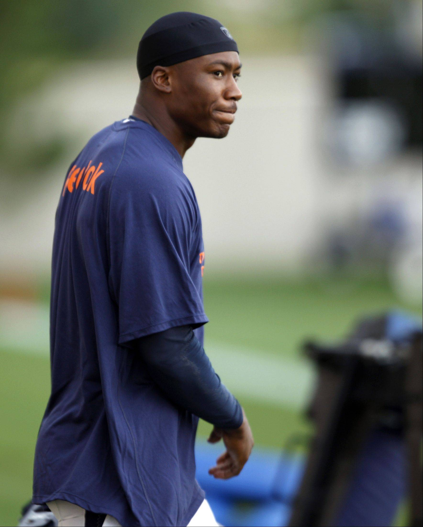 "In this Aug. 18, 2009 file photo, Denver Broncos wide receiver Brandon Marshall heads to the practice field during NFL football training camp in Englewood, Colo. Marshall, openly unhappy with the Broncos, was suspended by the team on Friday, Aug. 28, 2009, for unspecified ""detrimental"" conduct. The club did not say in its 15-word statement how long the suspension would last."