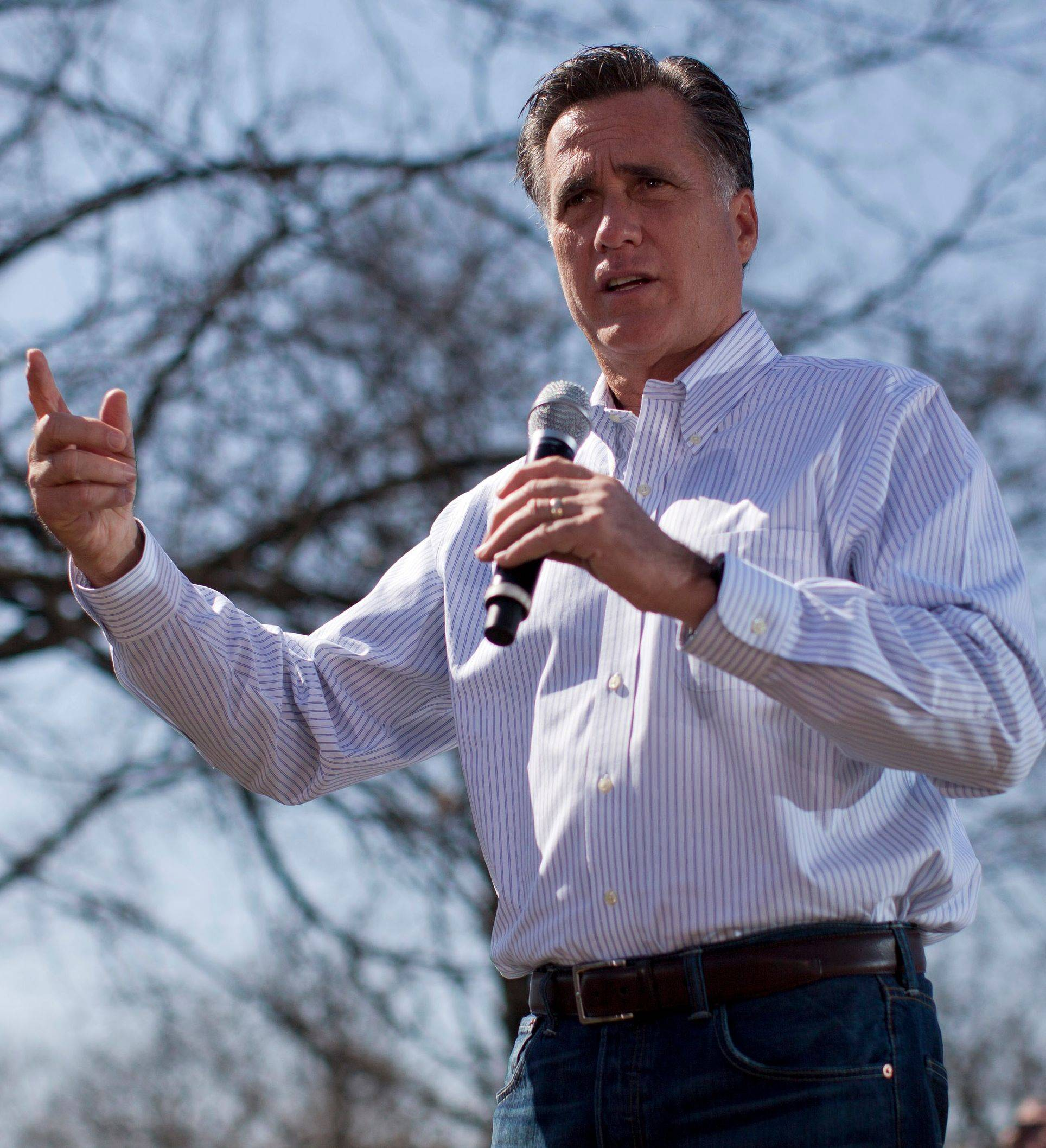 Republican presidential candidate, former Massachusetts Gov. Mitt Romney, campaigns in St. Louis.