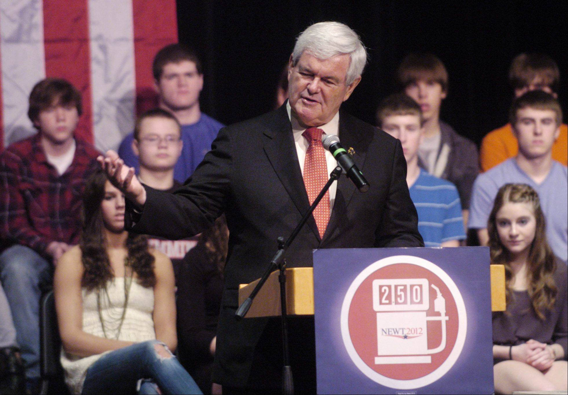 Republican presidential candidate Newt Gingrich speaks at Barrington High School on Thursday.