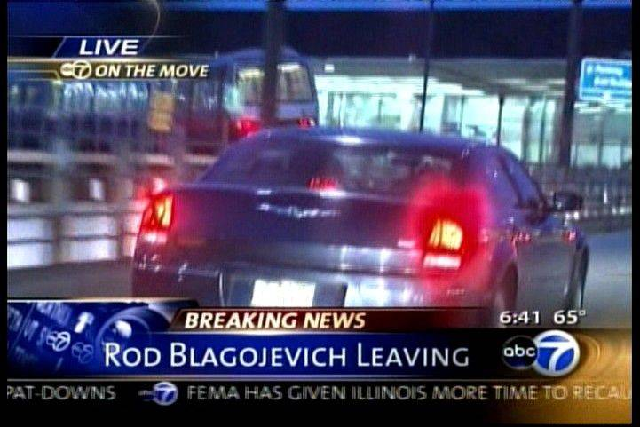 A car carrying former governor Rod Blagojevich arrives at O'Hare Airport this morning.