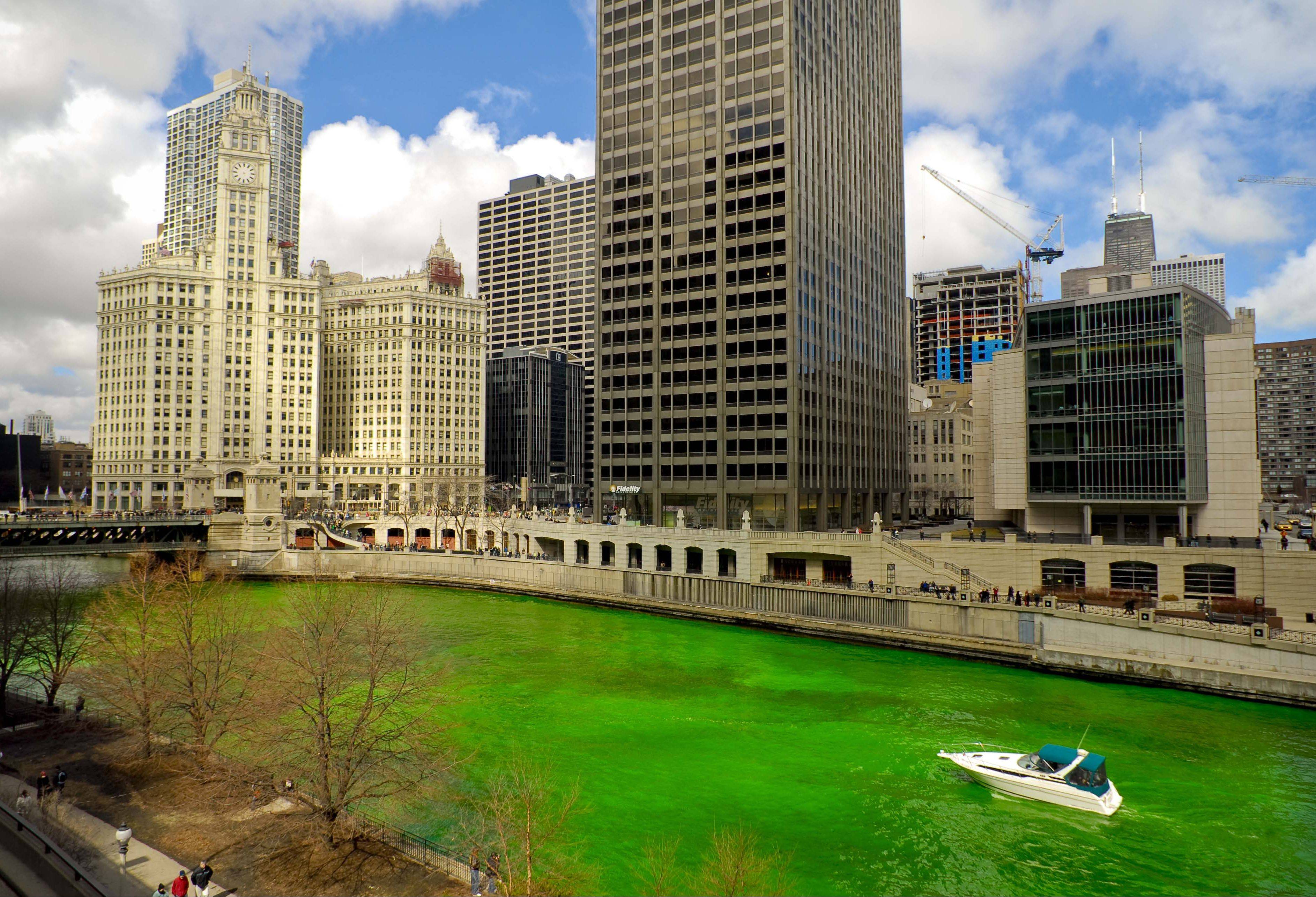 The Chicago River will be dyed green for the St. Patrick's Day Saturday.