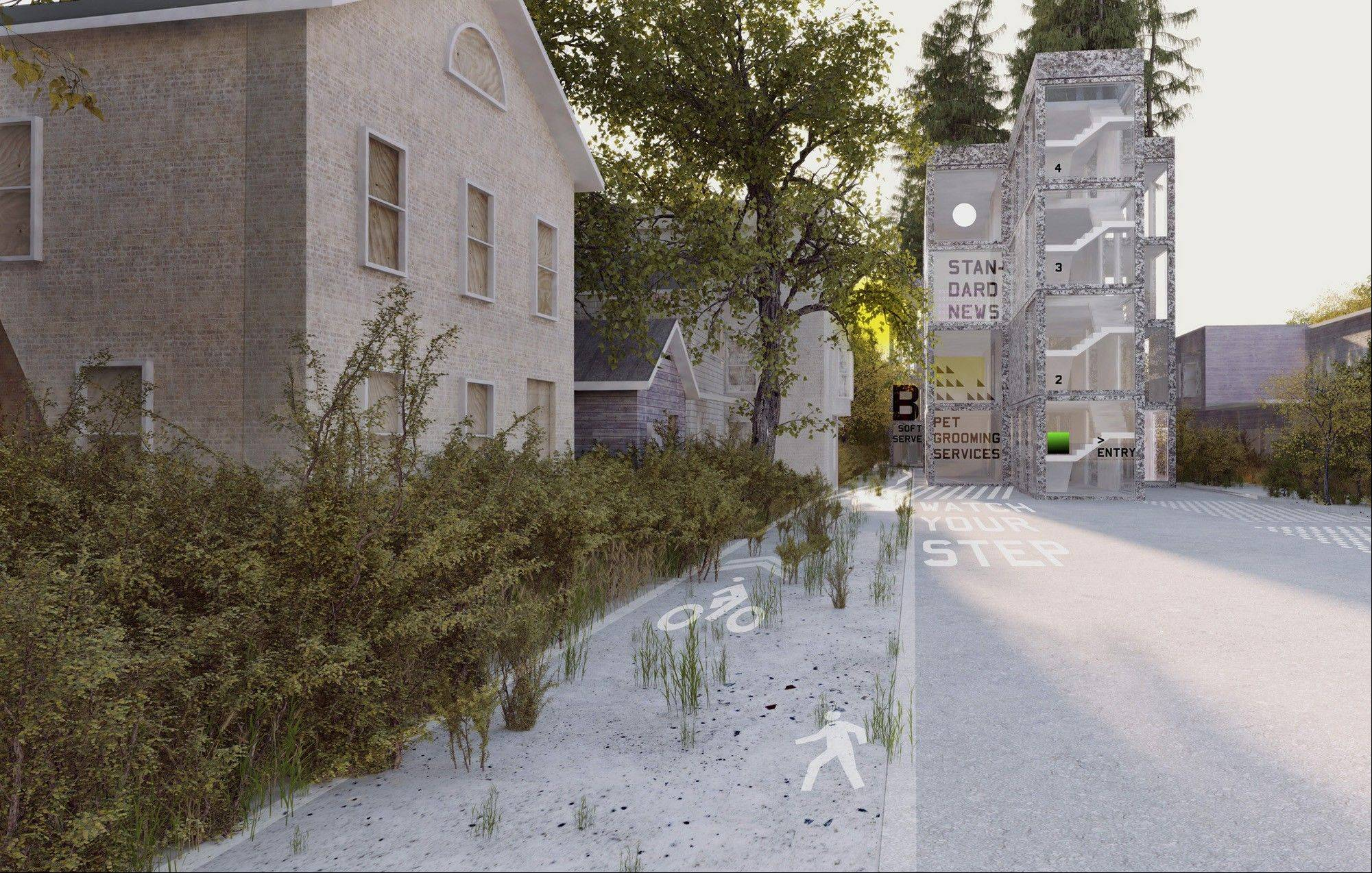 "The New York architecture firm MOS proposes to insert housing in the underused streets near a train station in Orange, N.J. Its concept is displayed at the Museum of Modern Art as part of the exhibition ""Foreclosed: Rehousing the American Dream."""