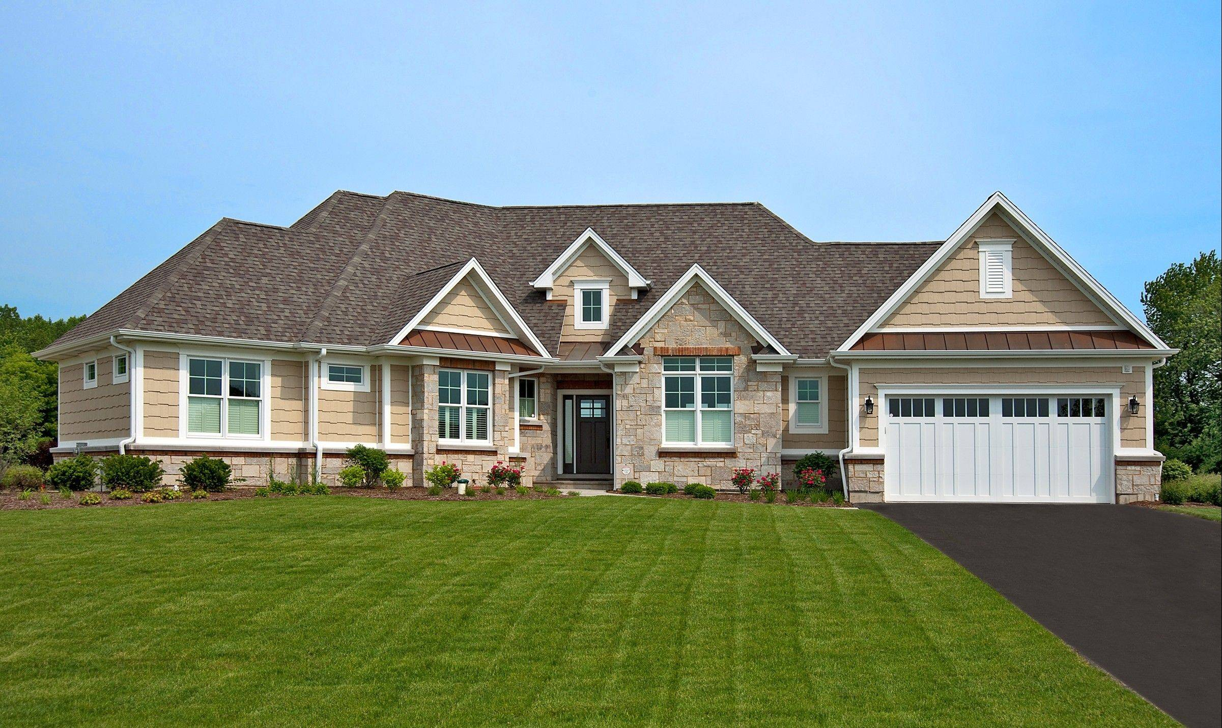 The Brunswick is a ranch design offered by Rock Creek Homes at Hennings Estates in Huntley.
