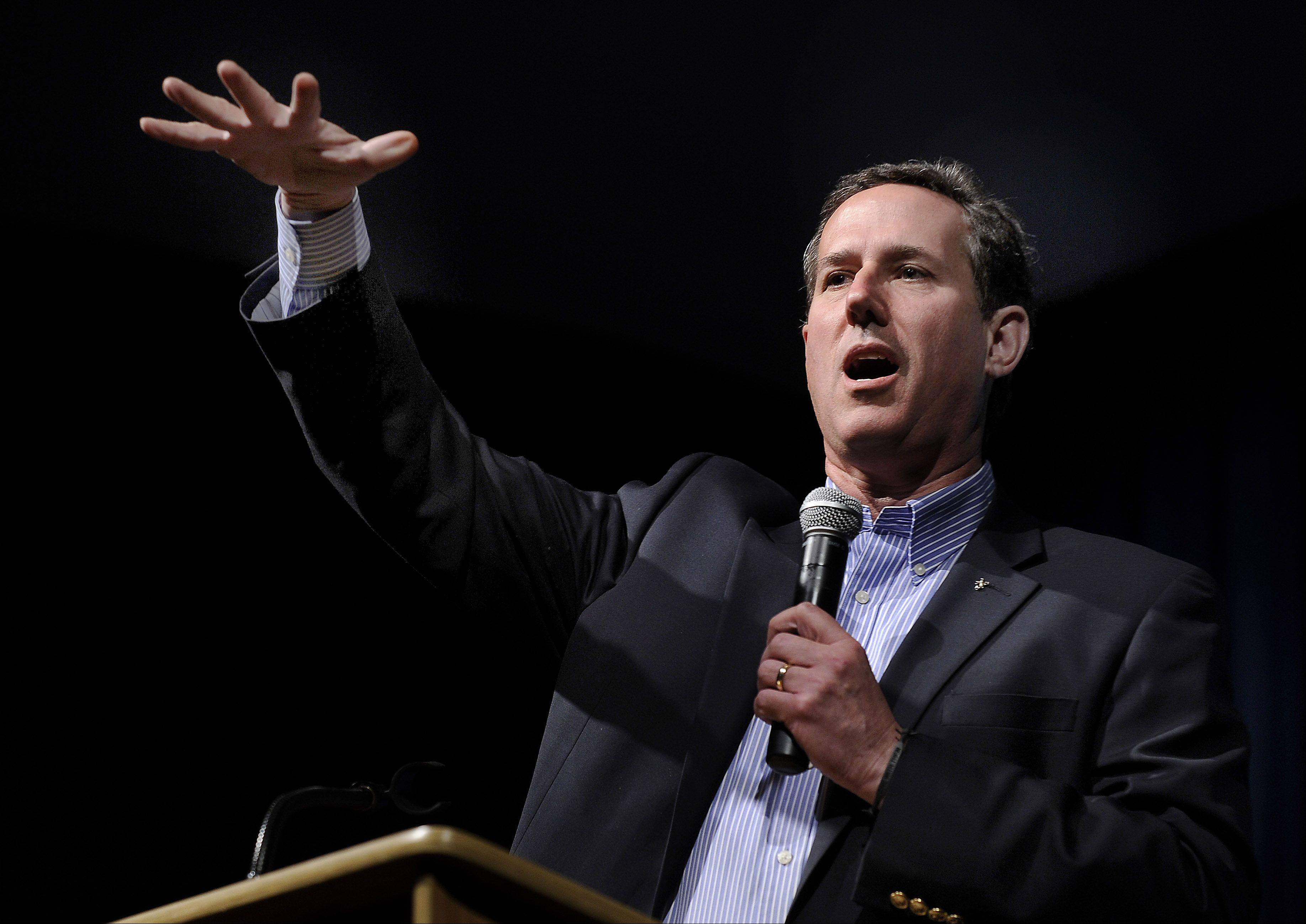 Rick Santorum visits the student body at John Hersey High School on Friday to talk about this years election and other hot topics.