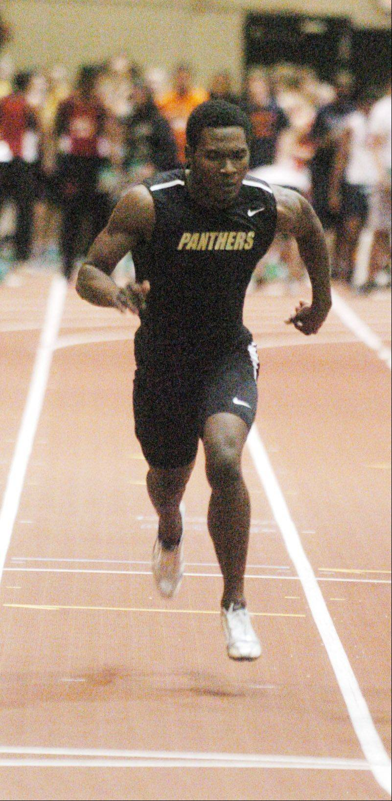 Vincent Sherrod of Glenbard North in the 55 meter dash during the DuPage Valley Conference indoor boys track meet in Naperville Friday.