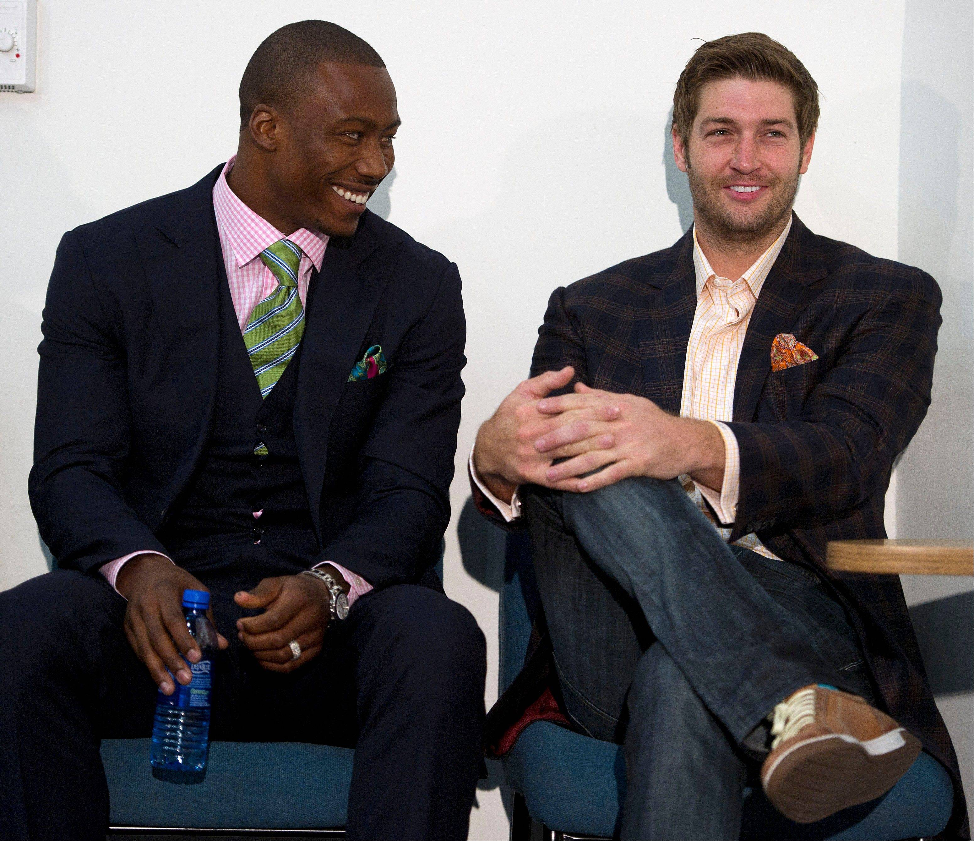 Together again: wide receiver Brandon Marshall, left, and Bears quarterback Jay Cutler earned Pro Bowl honors when they played together in Denver. At a news conference Friday at Halas Hall, the two talked about their friendship.