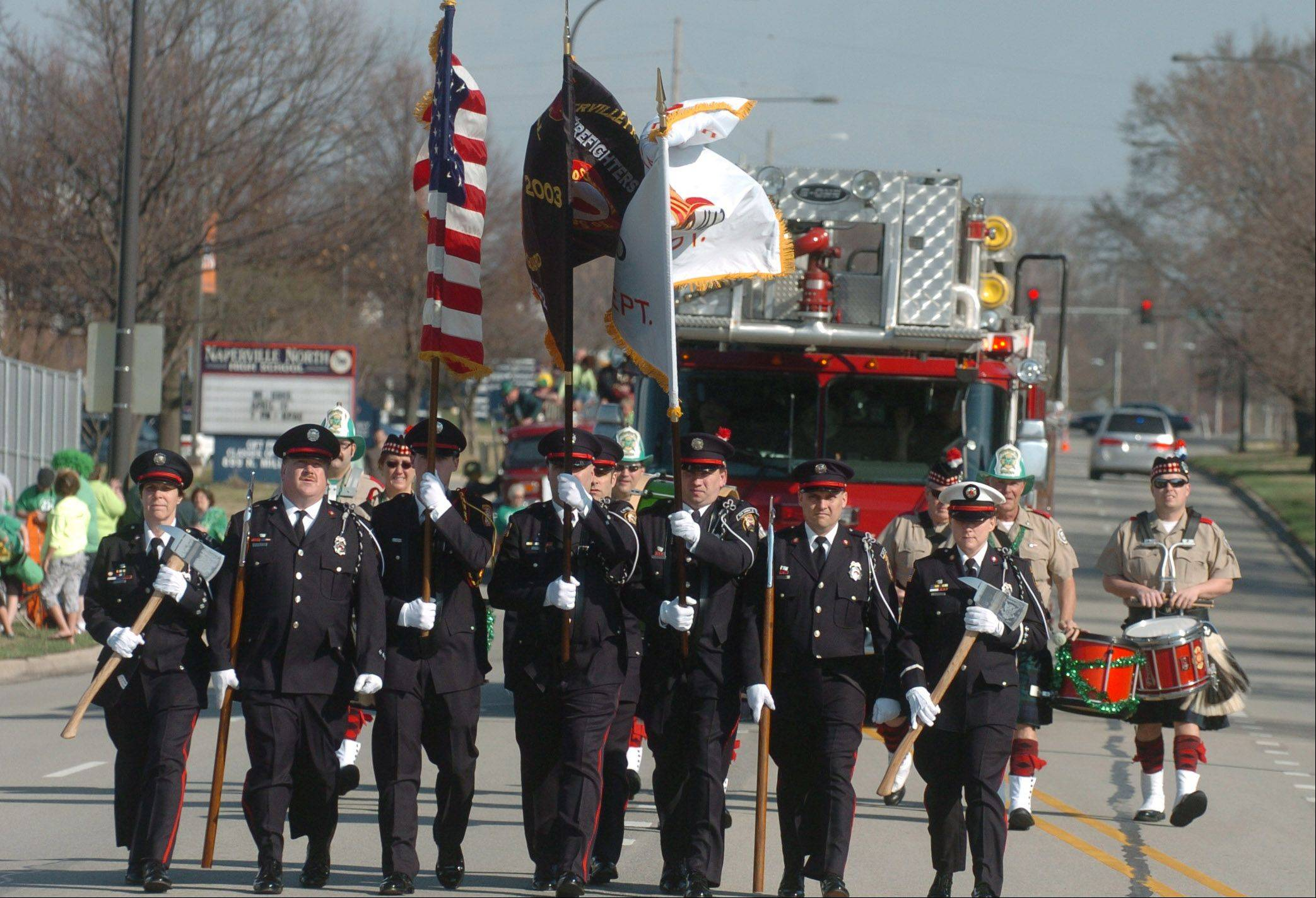 The St. Patricks Day parademakes its way down the streets of Naperville Saturday.