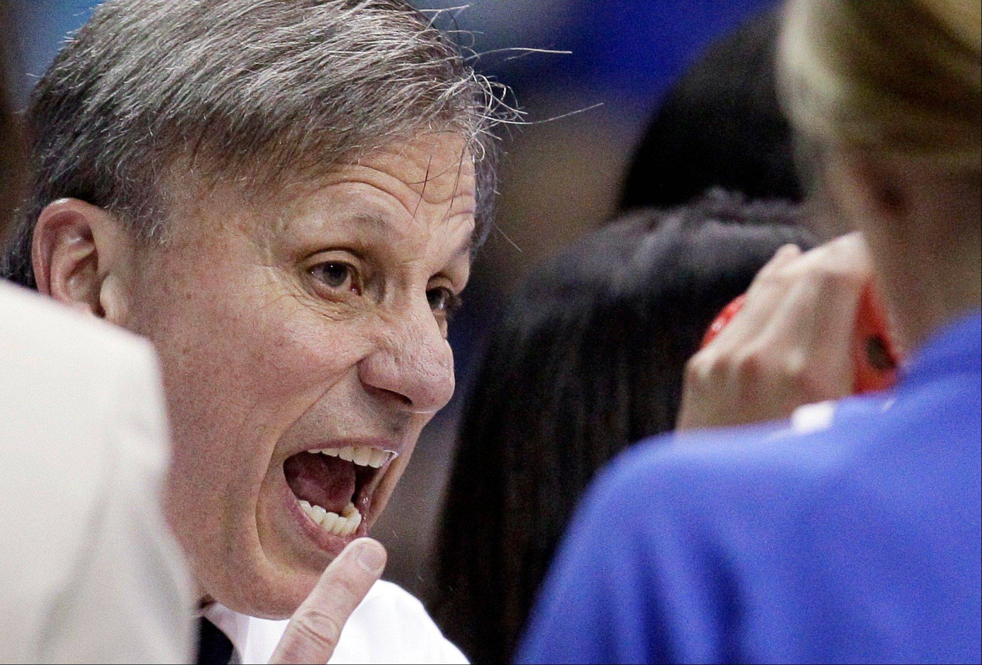 DePaul head coach Doug Bruno yells his team during the second half of an NCAA tournament first-round women's college basketball game against BYU in Rosemont, Ill., Saturday, March 17, 2012. DePaul won 59-55.