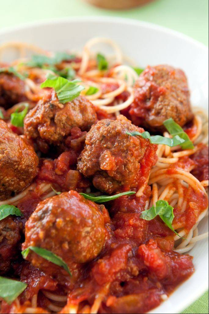 "Mama's Spaghetti and Meatballs from Elizabeth Hasselbeck's ""Deliciously G-Free Recipes."""