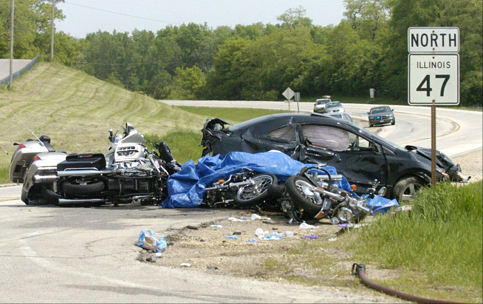 This is the scene of a crash that killed two and involved six motorcycles and three cars on Route 47 just north of Smith Road between Elburn and Sugar Grove on May 23, 2009.