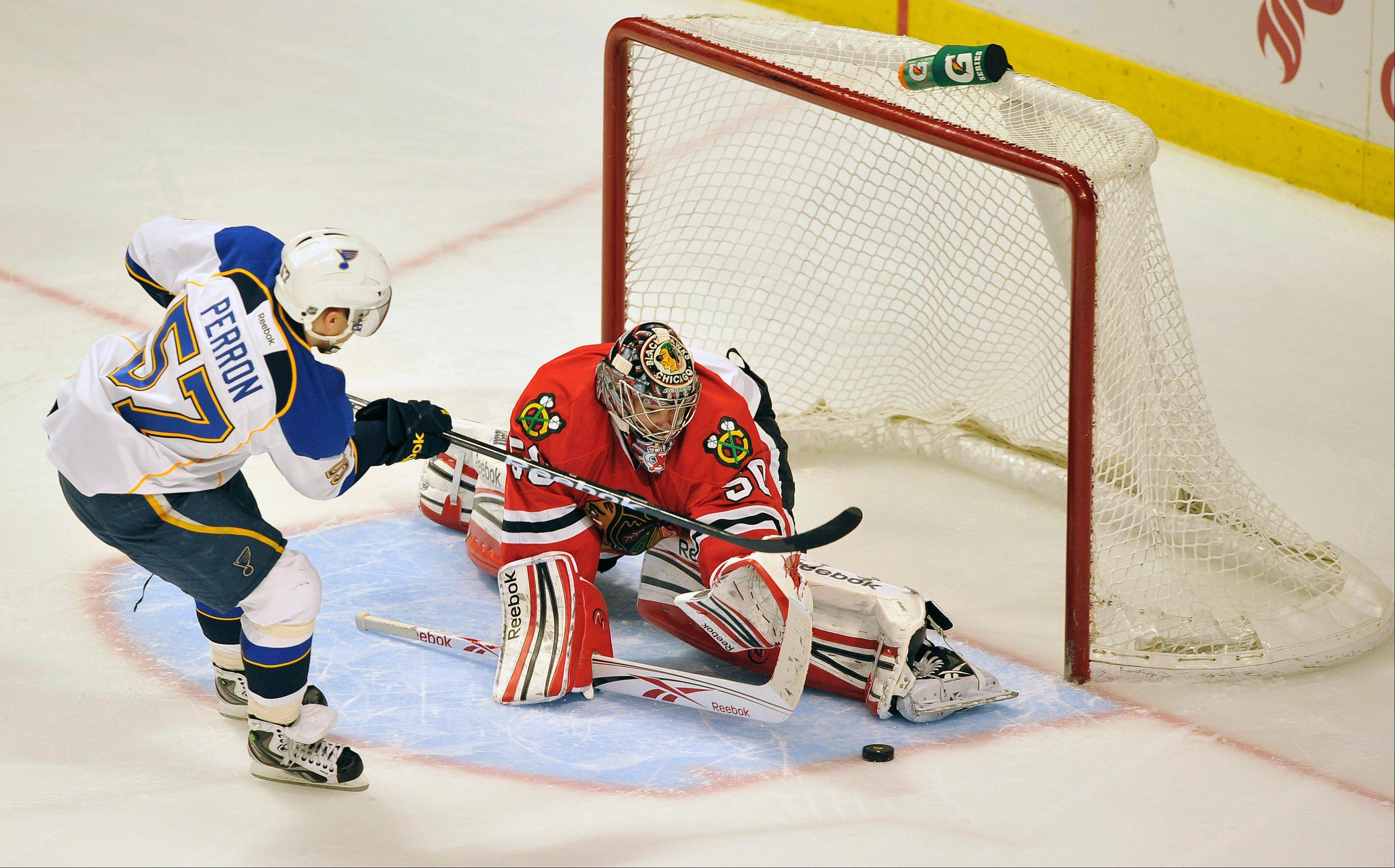 Corey Crawford was named the NHL's second star of the week thanks to his 3-0 record and .948 save percentage.