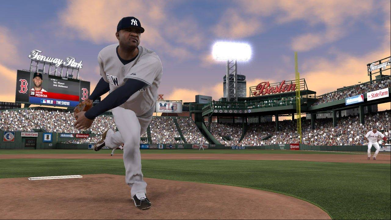 "New York Yankees ace C.C. Sabathia pitches in Boston's Fenway Park in ""MLB 12: The Show."""