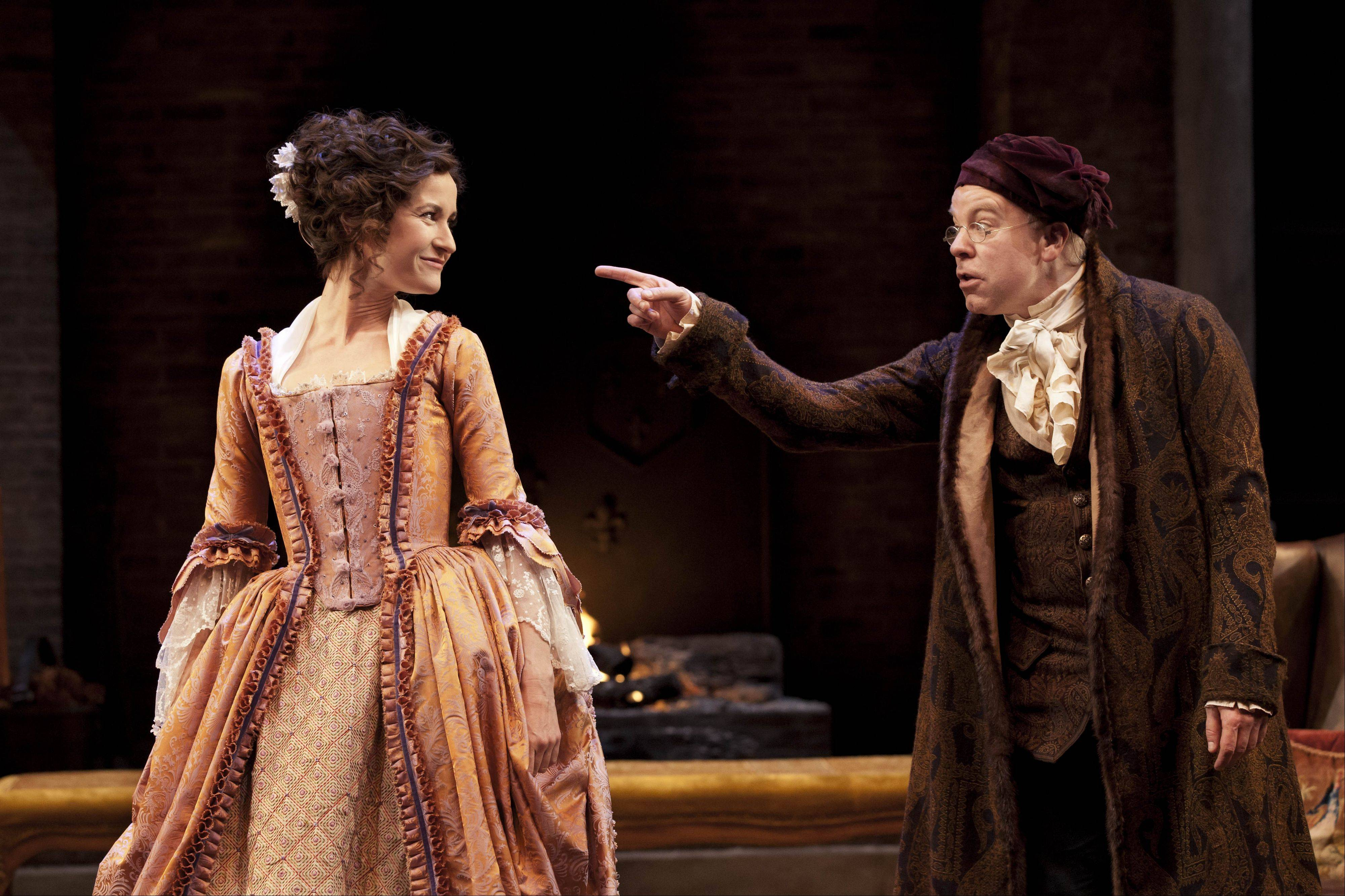"Katherine Kelly and Steve Pemberton star in Oliver Goldsmith's classic 1773 comedy of mistaken identities ""She Stoops to Conquer,"" screened to select suburban theaters on Thursday, March 29."