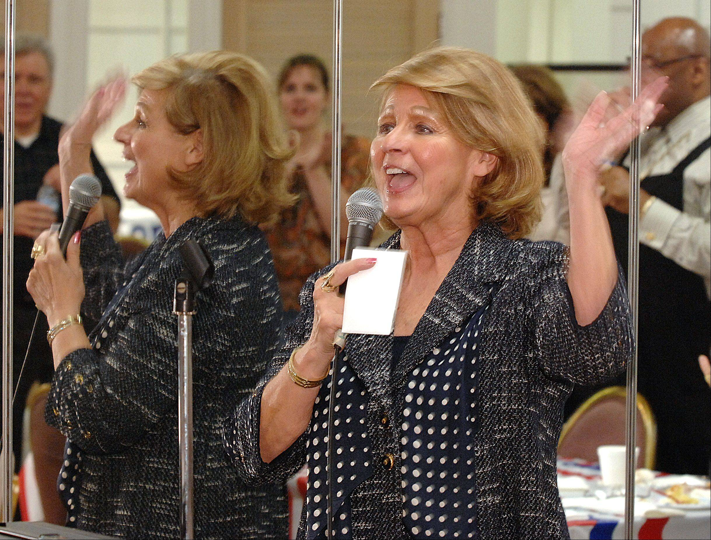 State Sen. Carole Pankau gives her victory speech at the Bloomingdale Township Republican headquarters after winning the Republican primary election in the 23rd Senate District.