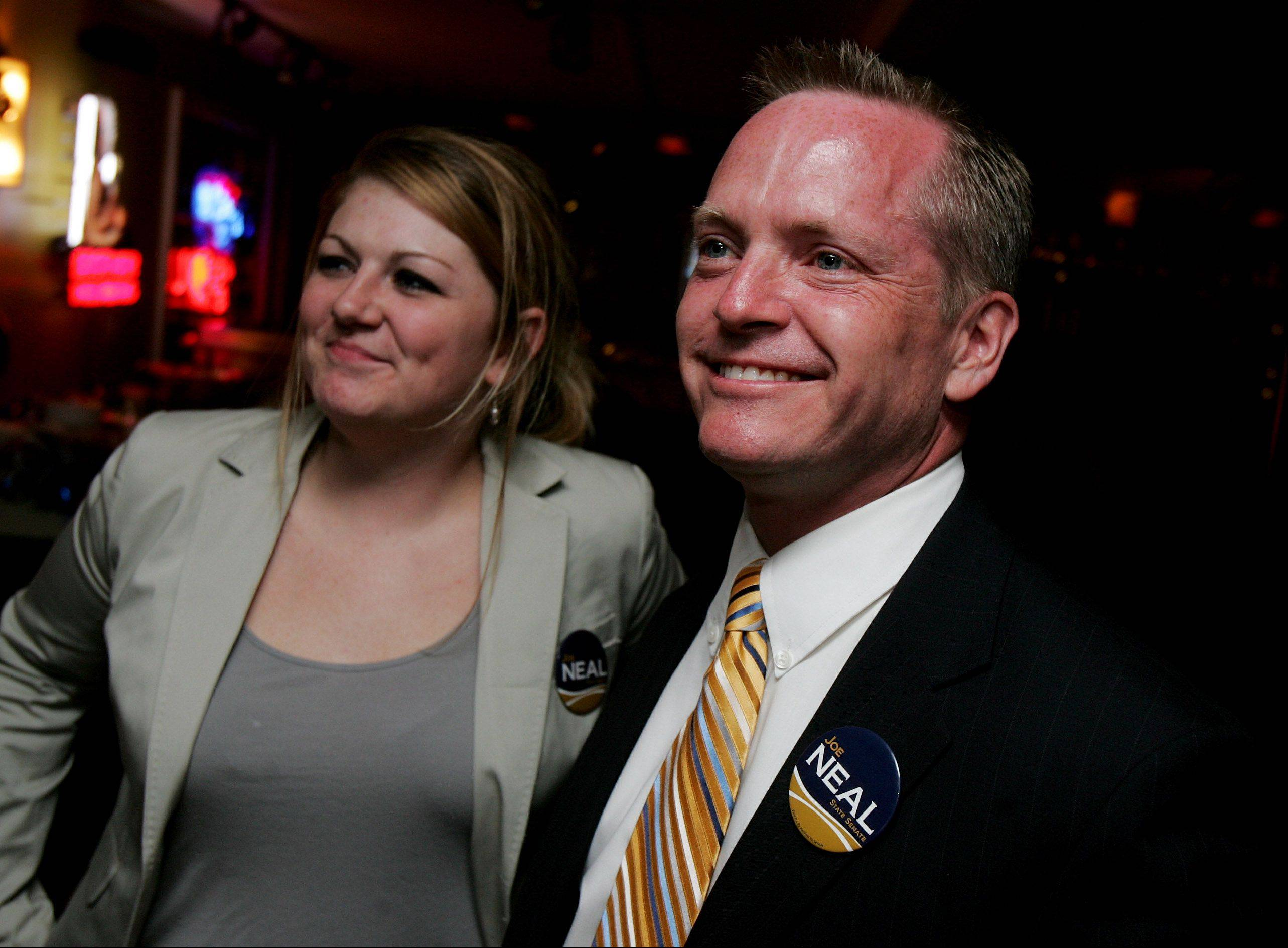 Republican Joe Neal and his campaign manager Lauren Fleming are happy Tuesday night as they watch his victory in the Republican primary in the 31st Senate District at Savanna House restaurant in Wadsworth. Neal, a Wadsworth resident, will face Democrat Melinda Bush of Grayslake in November.