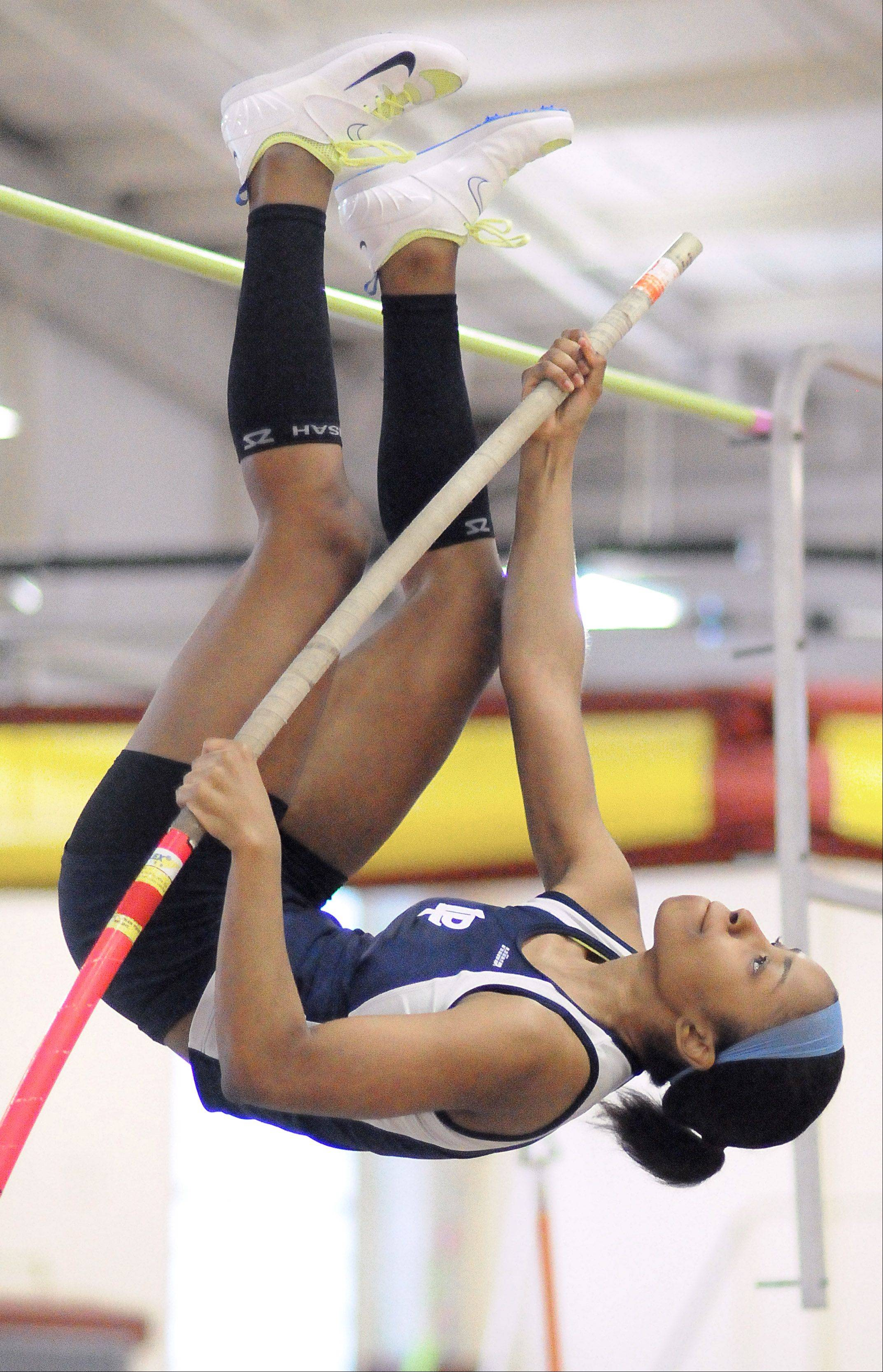 "Lake Park's Maya Golliday clears the 10' 6"" mark at the Upstate Eight Conference in Batavia on Saturday."