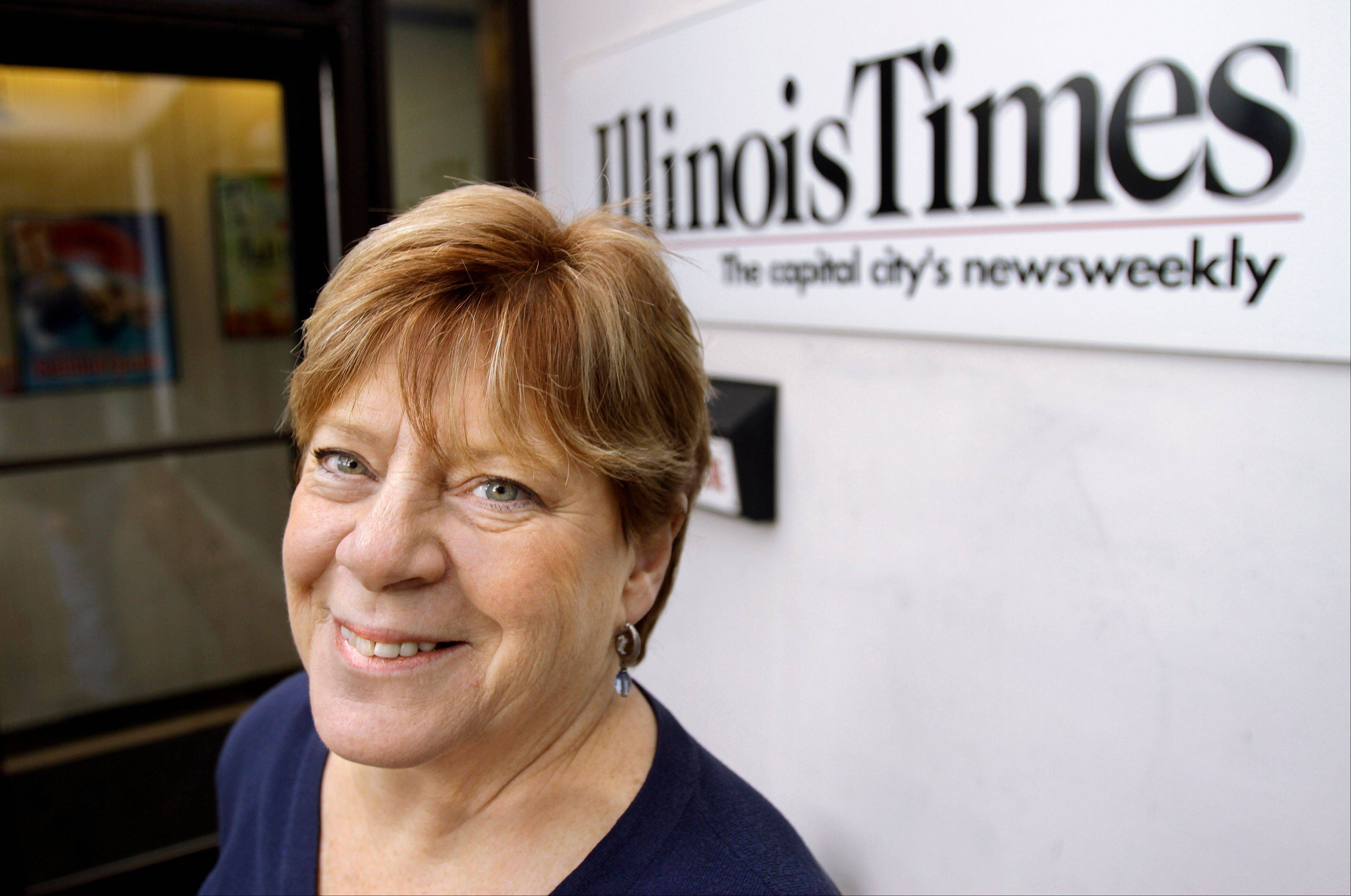 Sharon Whalen, Publisher of the Illinois Times, at work in Springfield. Whalen's small business, a weekly alternative newspaper, got a tax credit to help with cost of providing health care coverage to her employees.