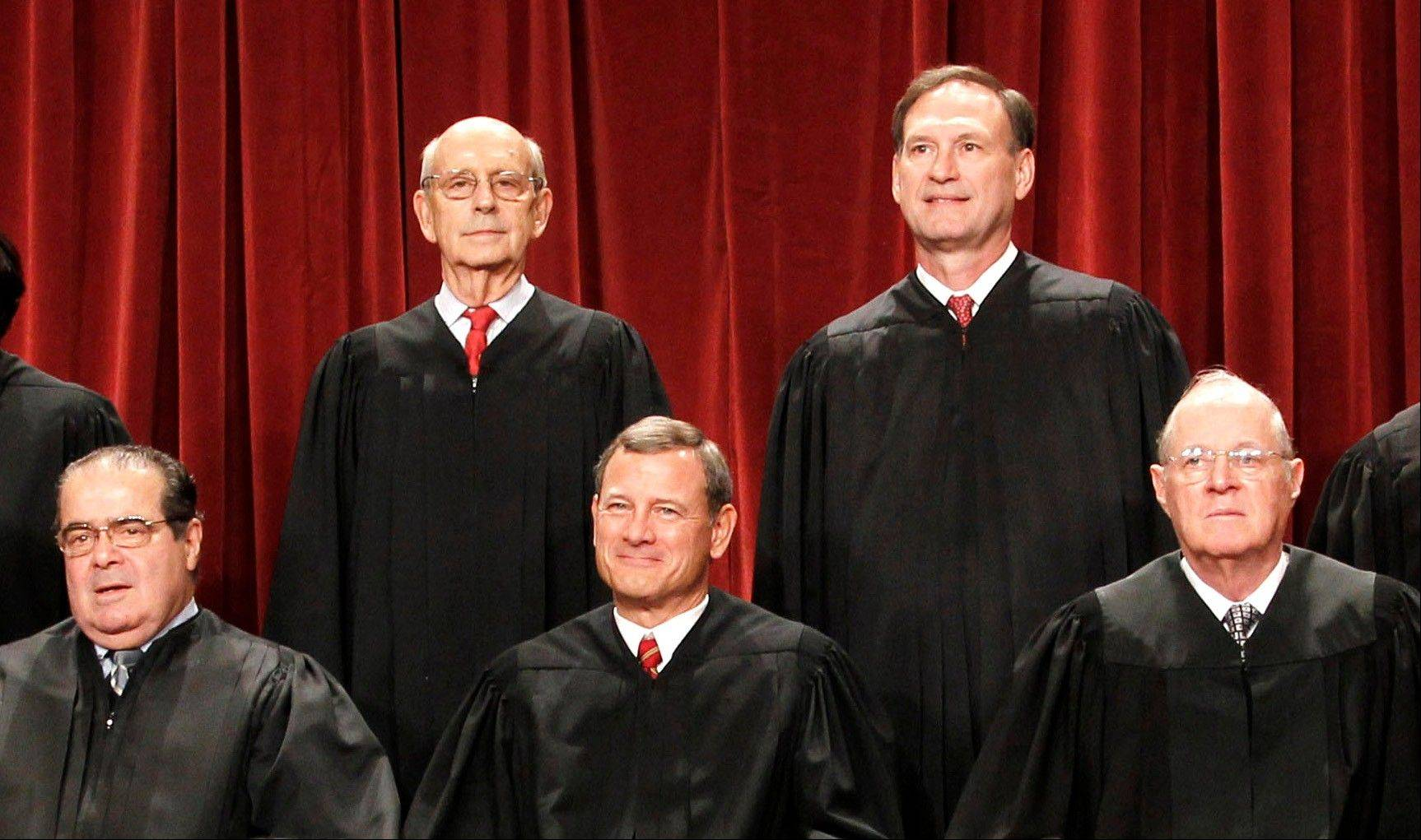 U.S. Supreme Court: Four Republican-appointed justices, front row from left, Antonin Scalia, Chief Justice John Roberts, Anthony M. Kennedy and top right, Samuel Alito Jr., control the fate of President Barack Obama's health care overhaul. At top left is Justice Stephen Breyer.