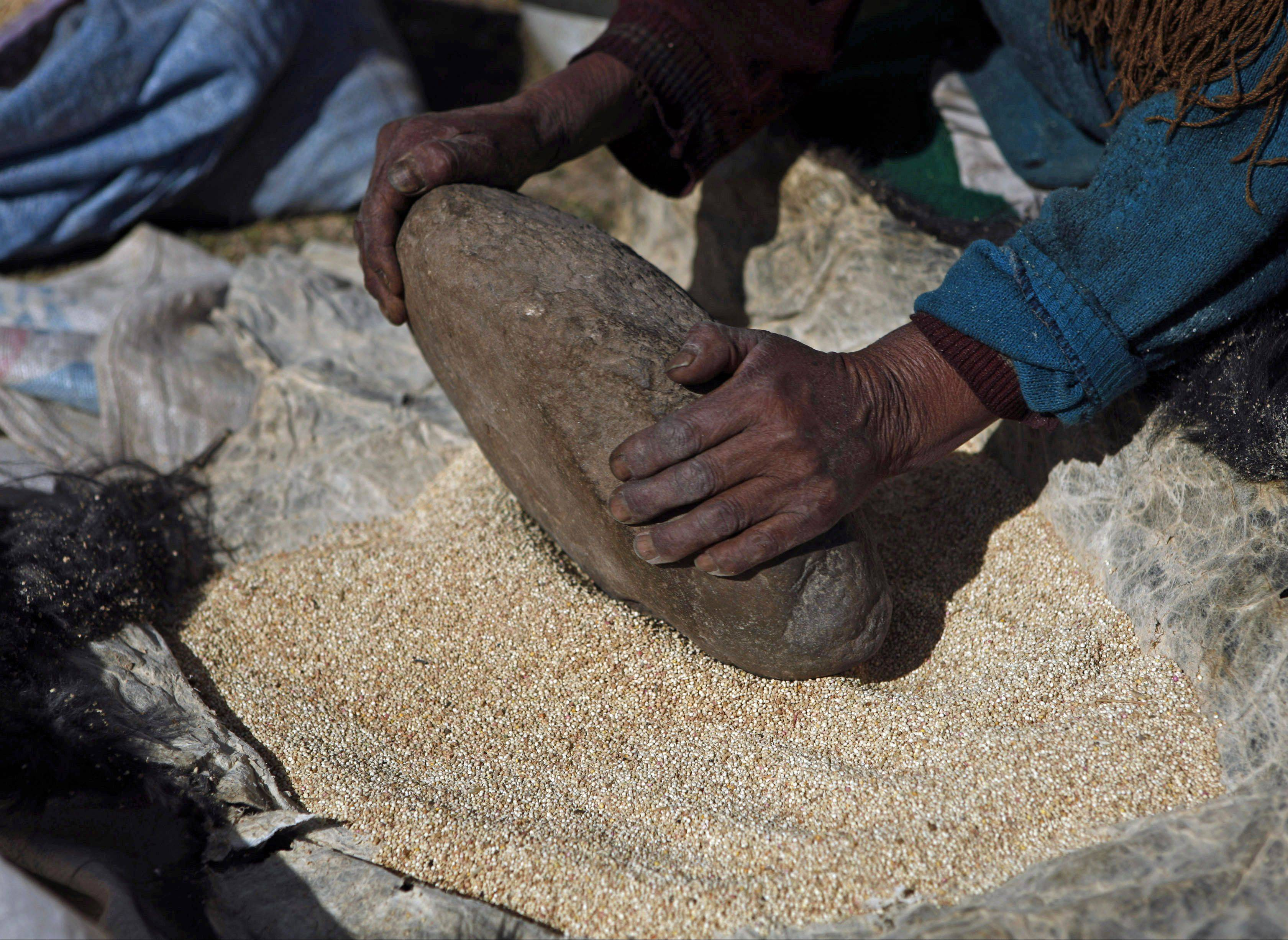 A woman grinds quinoa in Bolivia. The grain is gaining fans as people search out more whole grains for their menus