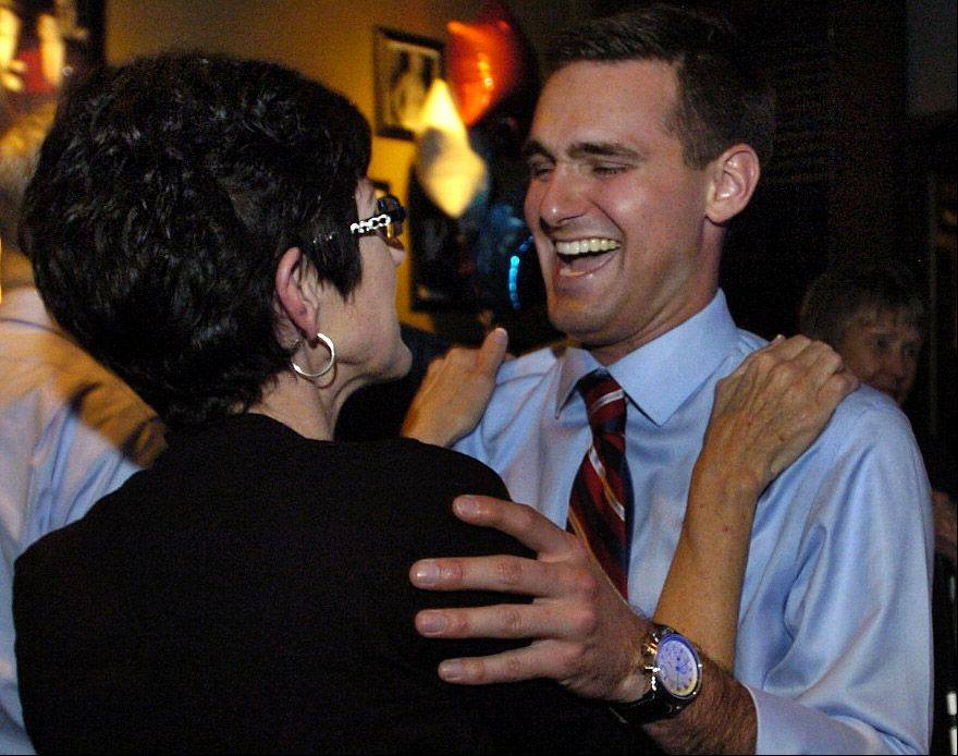 Lake County Board District 17 candidate Nick Sauer celebrates with his mom Janice Sauer after claiming victory in the primary.