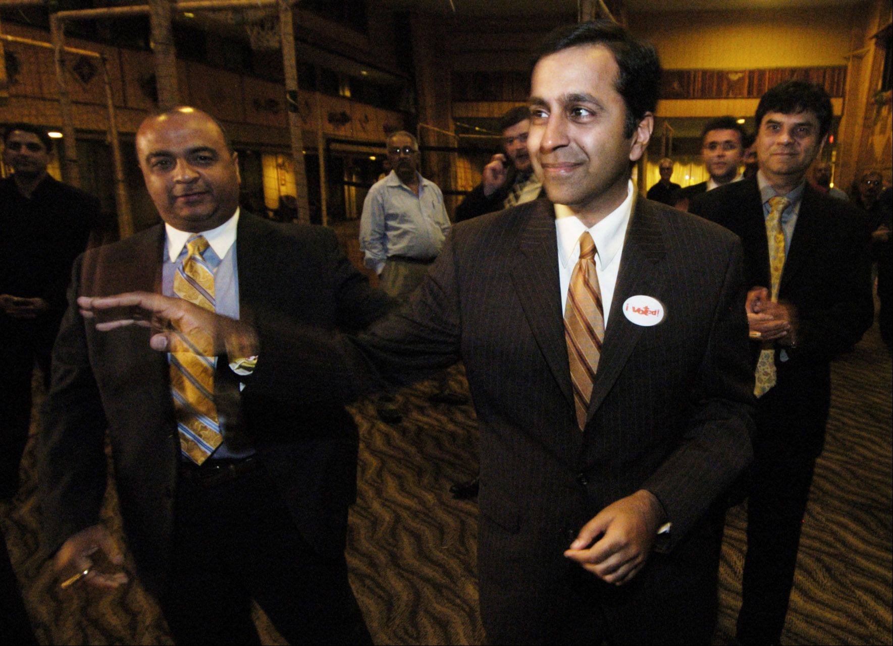 Raja Krishnamoorthi greets supporters prior to delivering his concession speech in Rolling Meadows after losing to Tammy Duckworth in the 8th Congressional District Democratic primary.