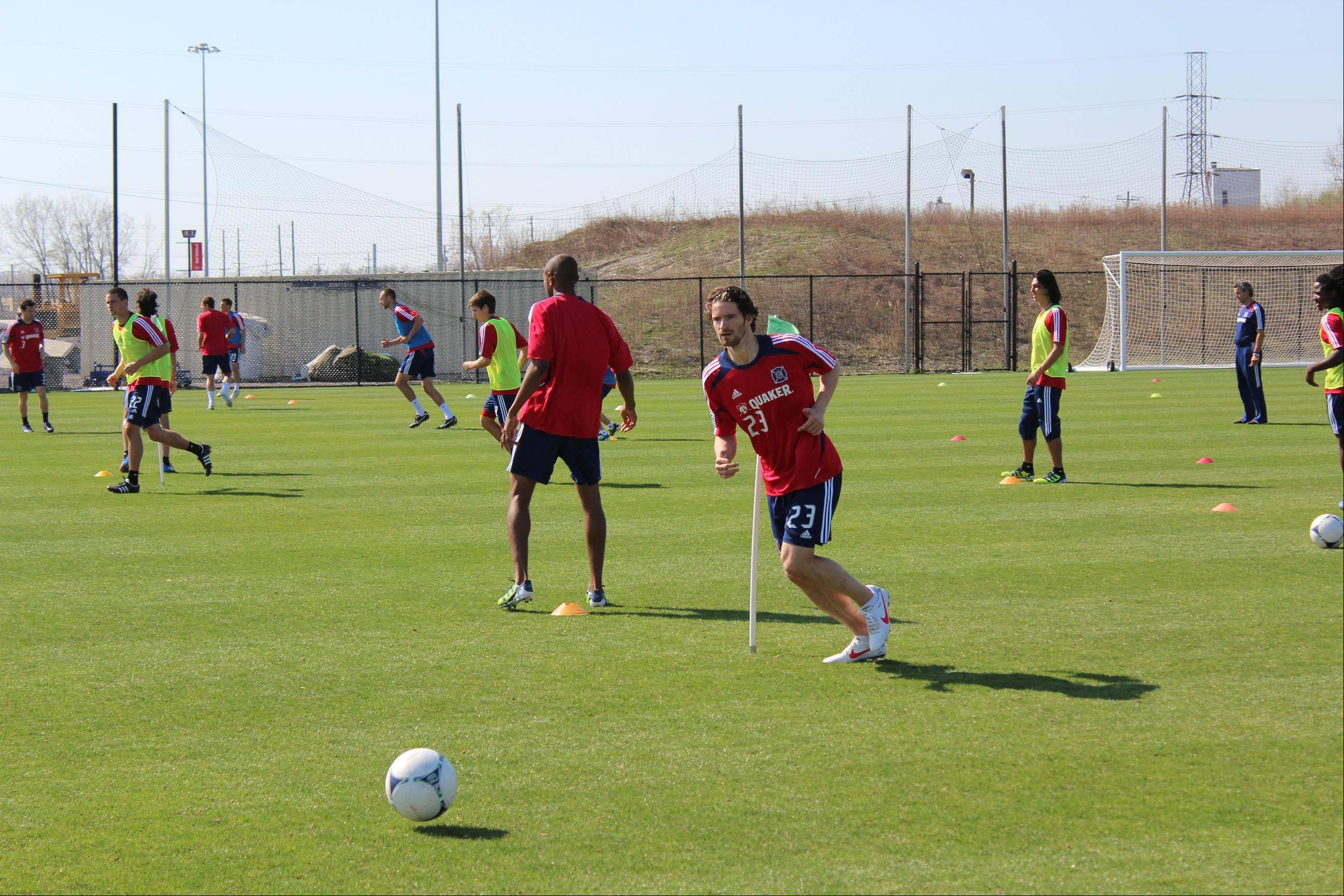 German defender Arne Friedrich (23) goes through his first workout with his new team, the Chicago Fire.
