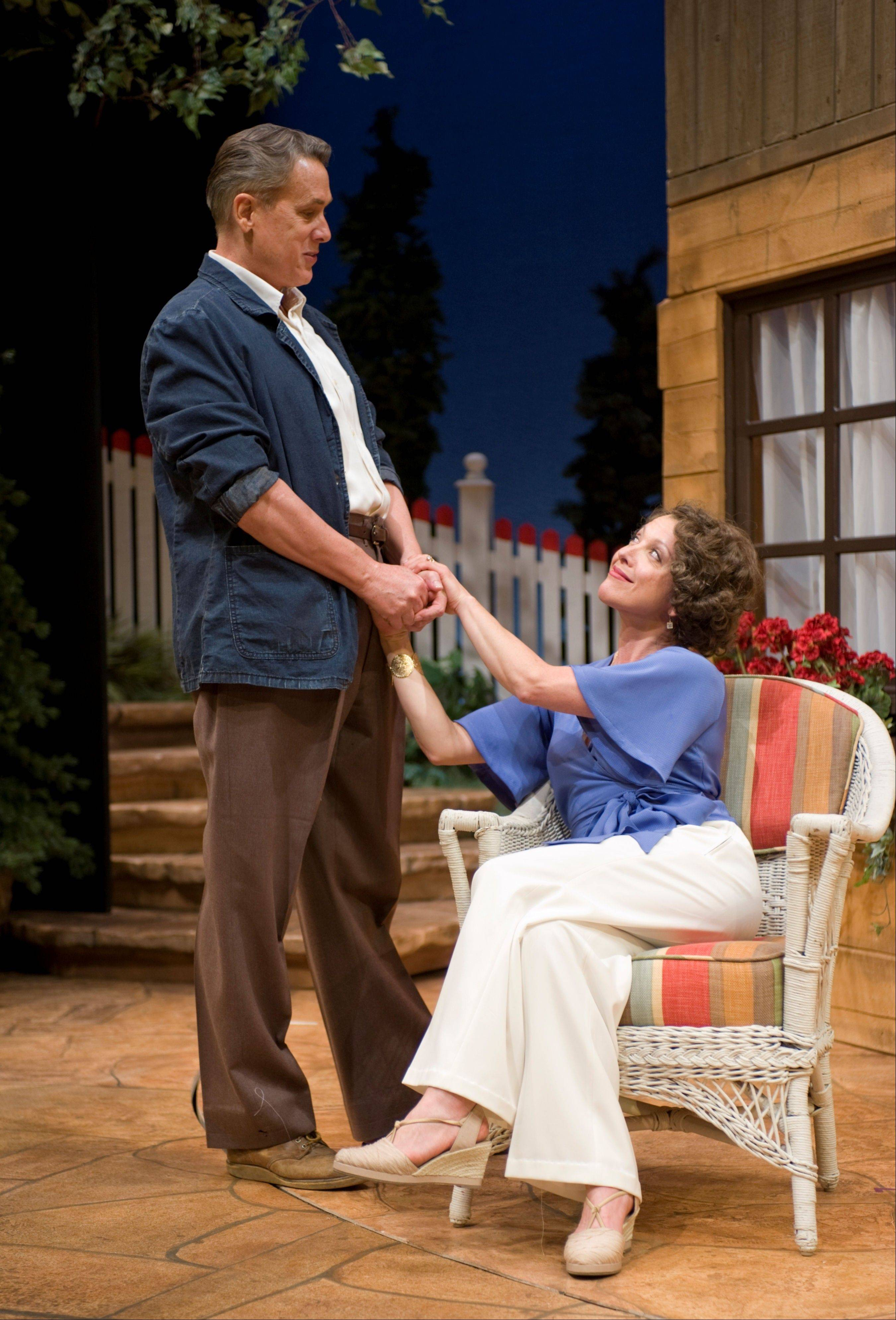 "V. Craig Heidenreich and Lia Mortensen play the highly theatrical, deeply enamored Alfred Lunt and Lynn Fontanne in Northlight Theatre's Chicago-area premiere of ""Ten Chimneys"" by Jeffrey Hatcher."