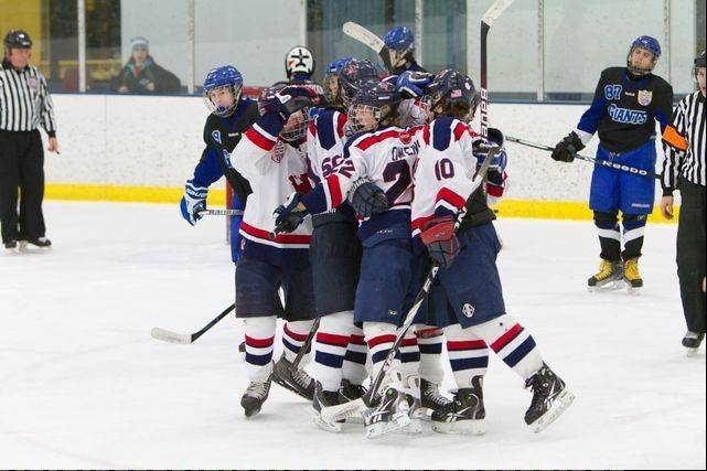St. Viator celebrates a goal during its run to the Blackhawk Cup championship game.