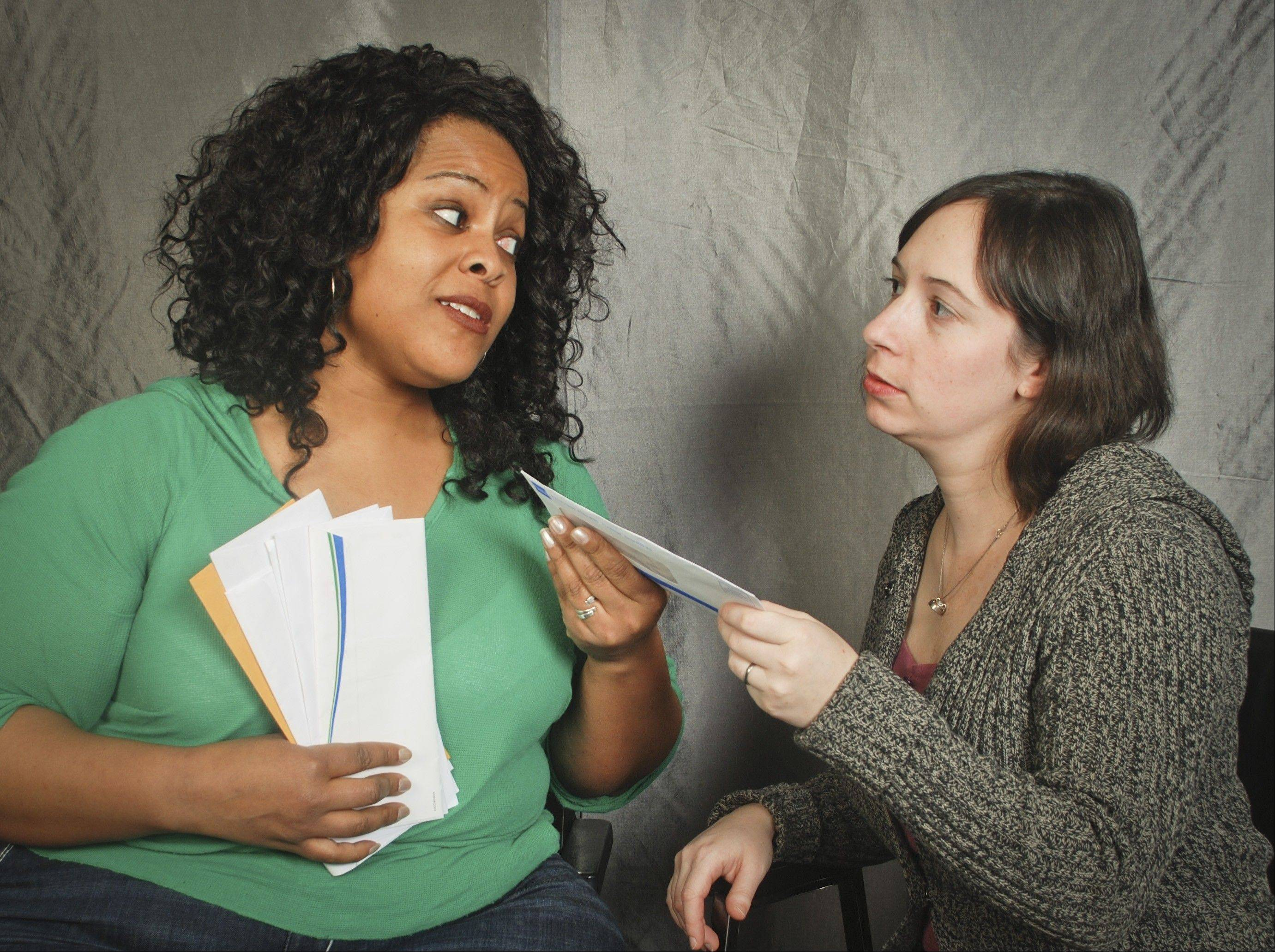 "Linda (Delicia Dunham) and Kate (Cynthia Shur Petts) discuss why one of them receives more mail than the other in Clockwise Theatre's ""Palmer Park,"" which is playing in Waukegan."