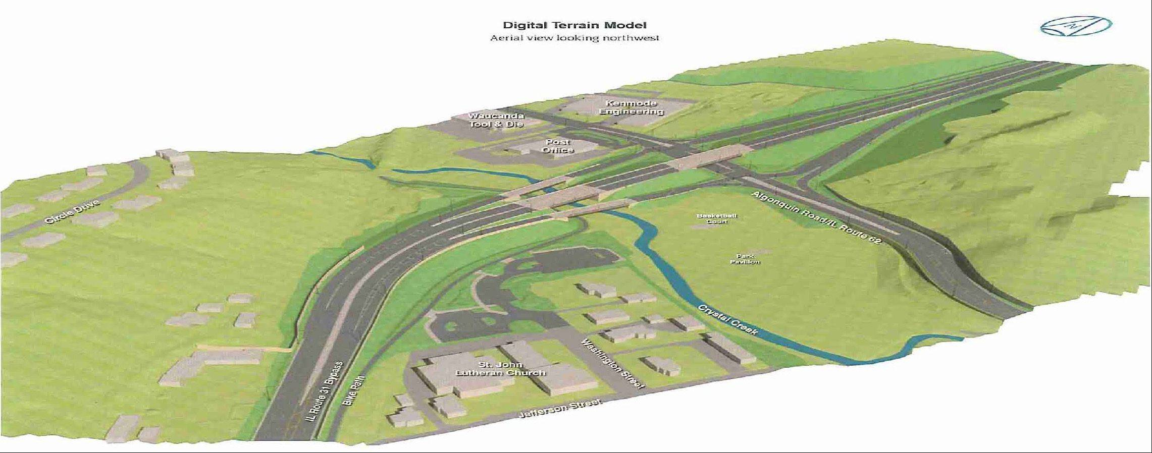 A digital terrain model of the so-called Western Bypass of Route 31 in downtown Algonquin.