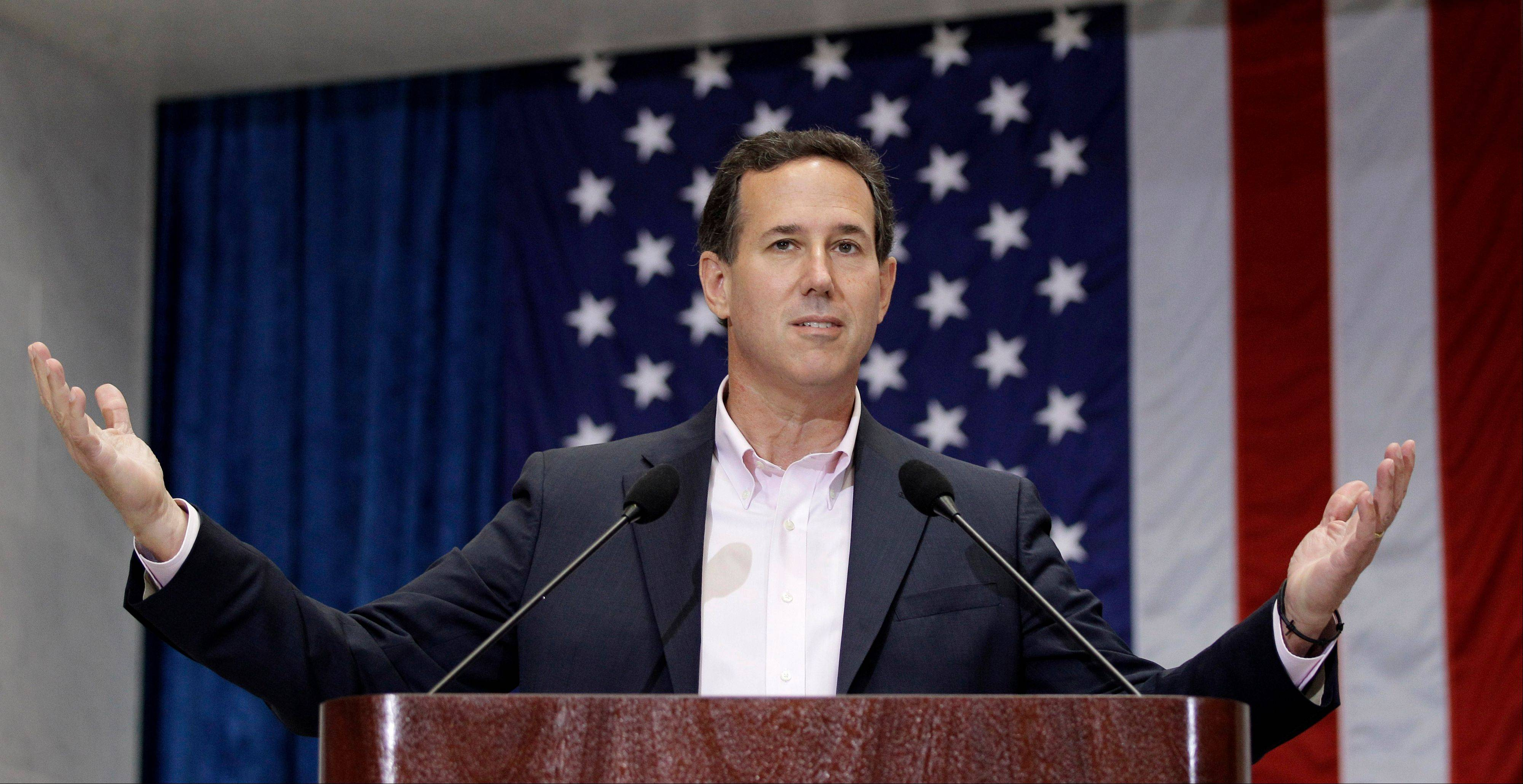 Republican presidential candidate, former Pennsylvania Sen. Rick Santorum speaks to USAA employees during a campaign stop at USAA, Thursday, March 22, 2012, in San Antonio.