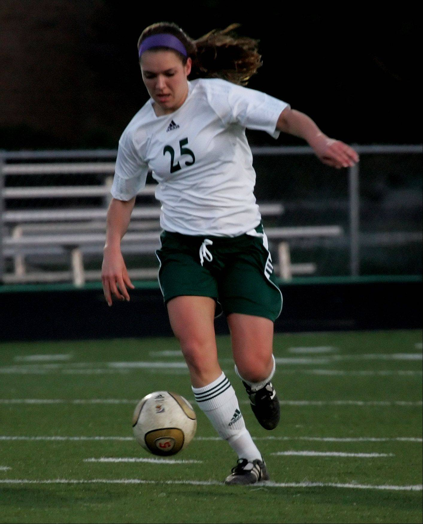 Stevenson forward Katie Krejsa shows a great touch with either foot, which has led to her overall knack for scoring Patriots goals.