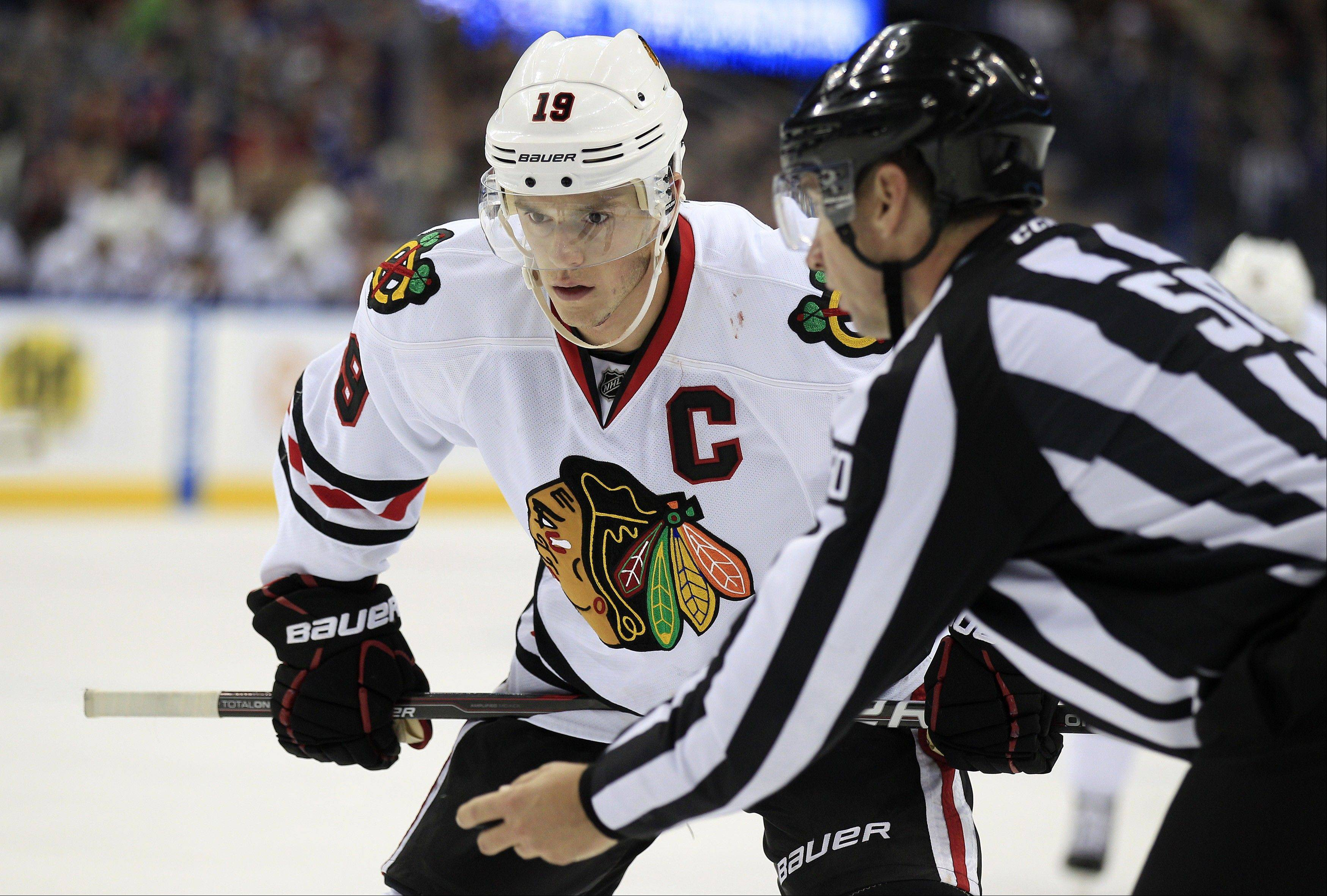 There's still no return date set for Blackhawks captain Jonathan Toews, who is recovering from a concussion.