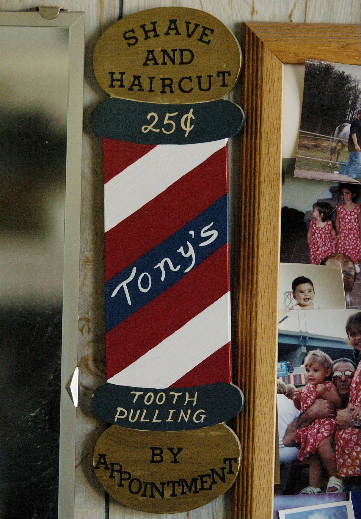 One of the many mementos hanging on the wall of Tony's Barber Shop.