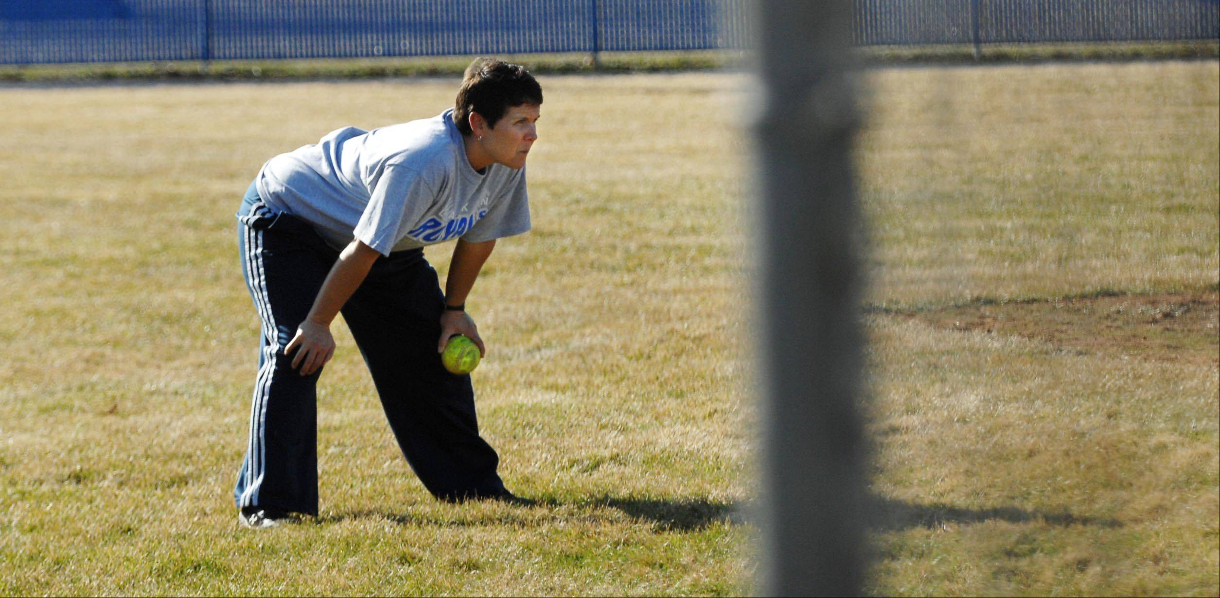 New Larkin softball coach Anne Vogt at practice in Elgin.