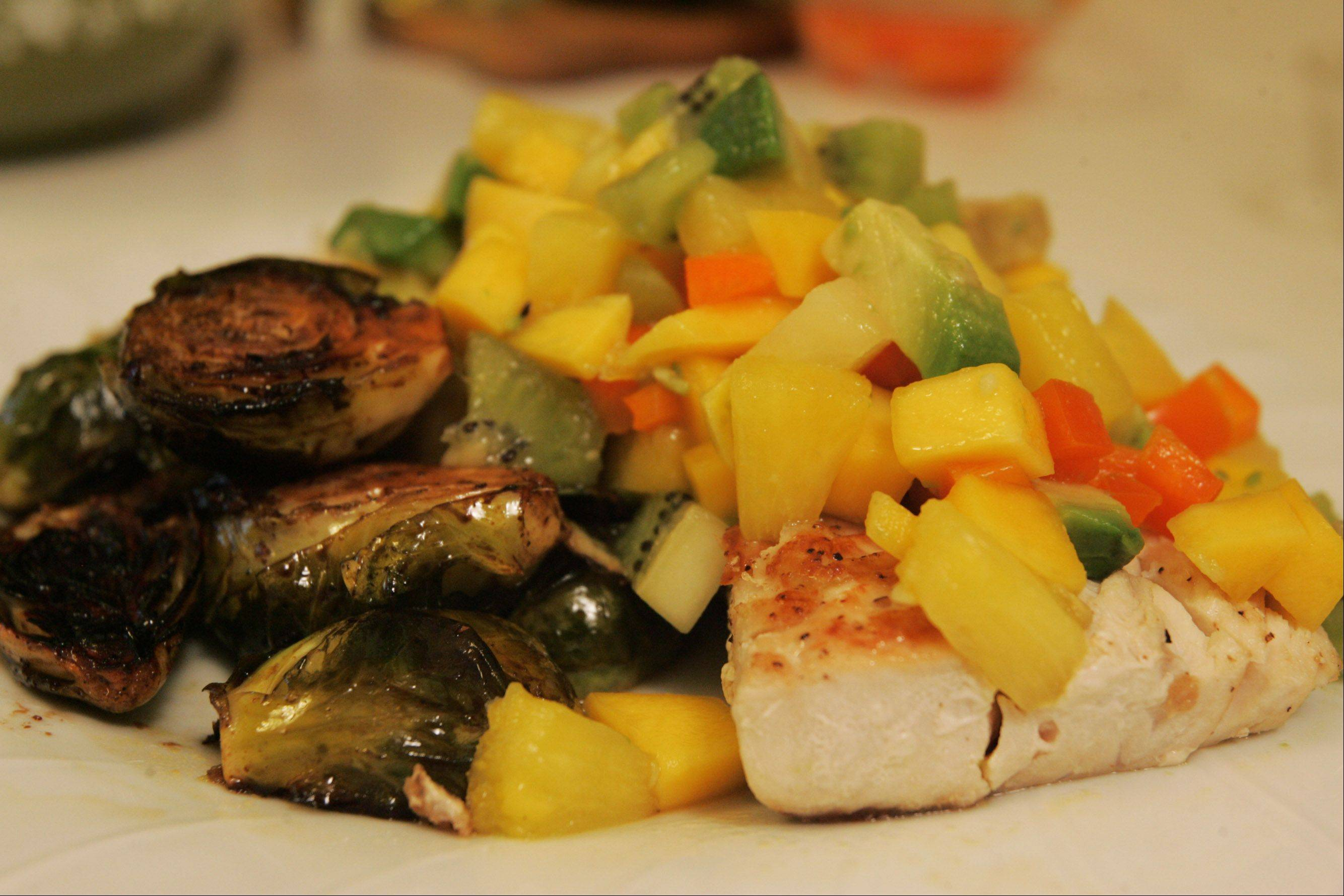 Erica Jensen pairs a tropical salsa with seared mahi-mahi fillets.