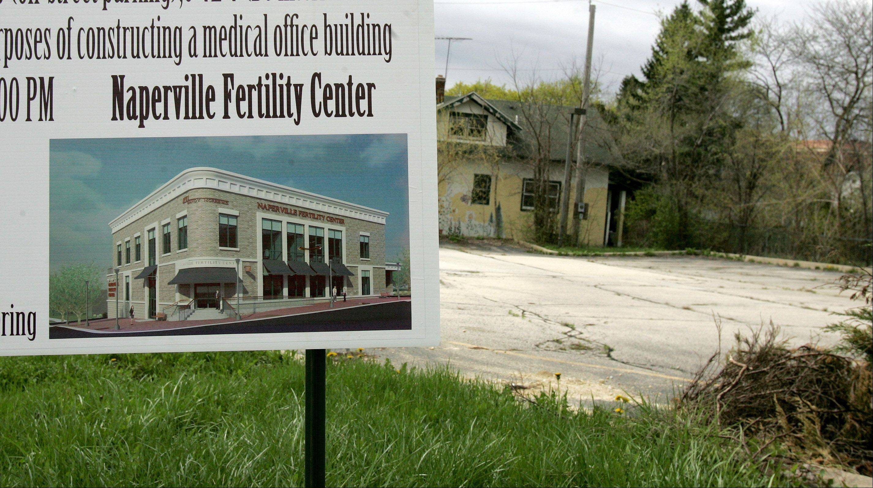 Dr. Randy Morris hopes to consolidate his office and fertility clinic on this lot at Washington Street and Benton Avenue in downtown Naperville.