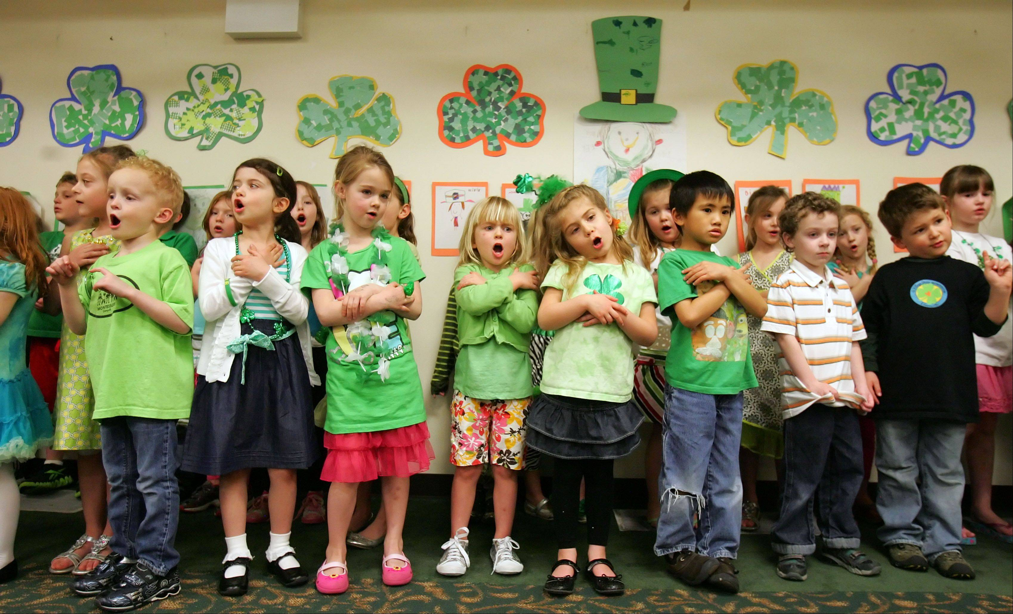 Village Green Montessori kids sing traditional Irish songs during their annual St. Patrick's Day party Friday in Libertyville.